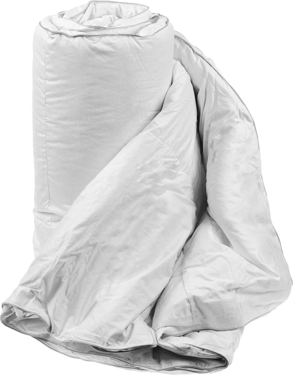 Одеяло теплое Легкие сны Лоретта, наполнитель: гусиный пух категории Экстра, 172 х 205 см172(17)03-ЭБТеплое двуспальное одеяло Легкие сны Лоретта поможет расслабиться, снимет усталость и подарит вам спокойный и здоровый сон. Одеяло наполнено серым гусиным пухом категории Экстра, оно необычайно легкое, пышное, обладает превосходными теплозащитными свойствами. Кассетное распределение пуха способствует сохранению формы и воздушности изделия. Чехол одеяла выполнен из благородного белоснежного пуходержащего сатина (100% хлопок). Серый шелковый кант изящно подчеркивает форму и оттеняет гладкость и блеск сатина. Цвет изделия дает возможность использовать постельное белье светлых оттенков. Под нежным, мягким и теплым одеялом вам приснятся только сказочные сны. Одеяло можно стирать в стиральной машине.