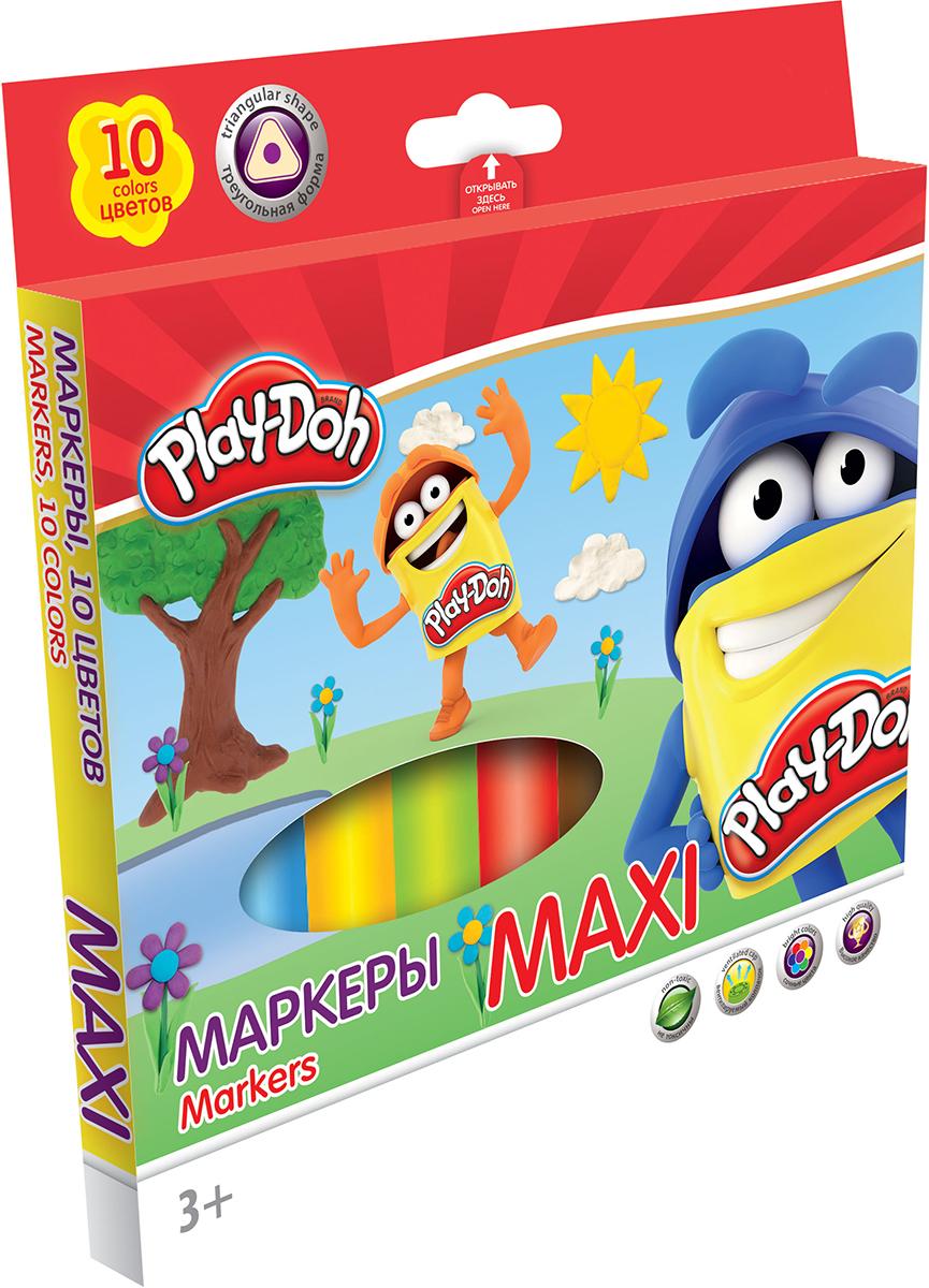 Play-Doh Набор маркеров Maxi 10 цветовPDCP-US1-3MB-10Набор маркеров Play-Doh Maxi, предназначенный специально для рисования и закрашивания, обязательно порадует юных художников и поможет им создать яркие и неповторимые картинки. Корпус фломастеров изготовлен из высококачественного нетоксичного пластика, а вентилируемый колпачок увеличивает срок службы чернил и предотвращает их преждевременное высыхание. Утолщенная трехгранная форма корпуса прививает навык правильно держать пишущий инструмент. А благодаря нейлоновому стержню, увеличенному содержанию чернил и улучшенному пишущему узлу фломастеры прослужат еще дольше! Набор включает в себя 10 маркеров ярких насыщенных цветов.