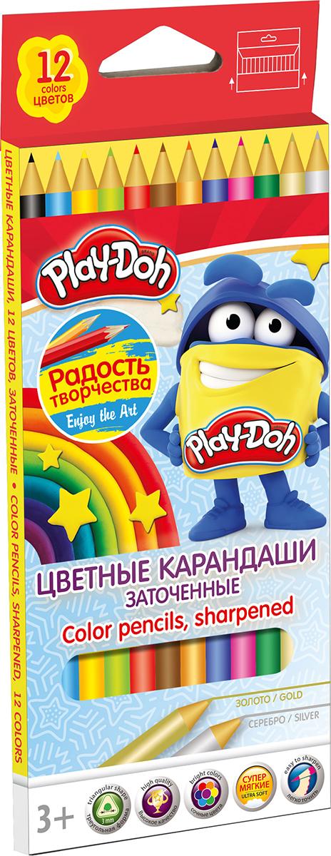 Play-Doh Набор цветных карандашей 12 цветовPDCP-US1-3QP-12Цветные карандаши Play-Doh откроют юным художникам новые горизонты для творчества, а также помогут отлично развить мелкую моторику рук, цветовое восприятие, фантазию и воображение. Эргономичная трехгранная форма корпуса прививает навык правильно держать пишущий инструмент и удобна для маленьких детских ручек. Специальное покрытие и лакировка уменьшает скольжение, что делает процесс рисования максимально комфортным. Мягкий ударопрочный грифель не ломается и не крошится при заточке. Набор включает 12 заточенных карандашей ярких насыщенных цветов, включая золотистый и серебристый.