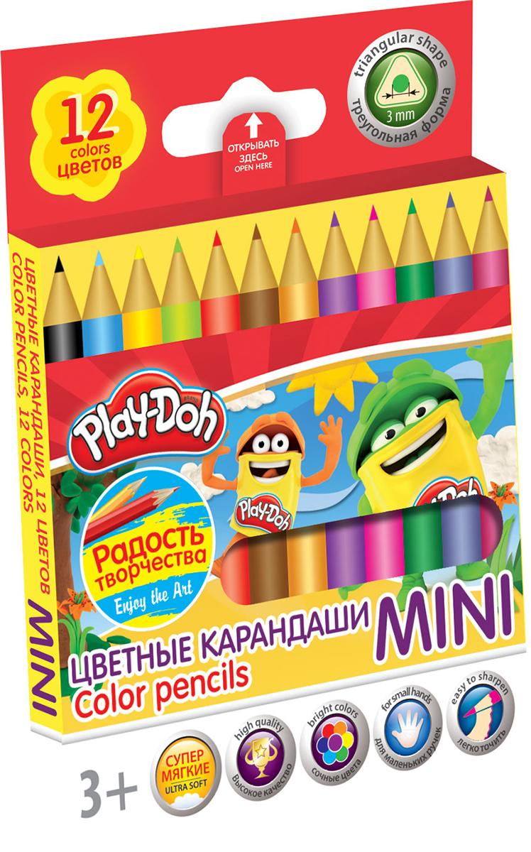 Play-Doh Набор цветных карандашей Mini 12 цветовPDCP-US1-3QPM-12Цветные карандаши Play-Doh Mini откроют юным художникам новые горизонты для творчества, а также помогут отлично развить мелкую моторику рук, цветовое восприятие, фантазию и воображение. Эргономичная трехгранная форма корпуса прививает навык правильно держать пишущий инструмент и удобна для маленьких детских ручек. Специальное покрытие и лакировка уменьшает скольжение, что делает процесс рисования максимально комфортным. Мягкий ударопрочный грифель не ломается и не крошится при заточке. Набор включает 12 заточенных карандашей ярких насыщенных цветов.