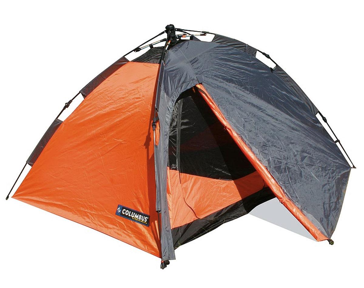 Палатка двухместная Columbus Trek II полуавтоматическая, двухслойная, цвет: серый, оранжевый2771Двухместная туристическая палатка Columbus Trek 2 подойдет для больших и маленьких путешествий, дружеского или романтического отдыха на природе. Устанавливается в считанные секунды за счет зонтичной полуавтоматической системы Easy UP. Внешний каркас типа «полусфера» выполнен из прочного и нержавеющего фибергласса. Включает одно спальное помещение размером 230x140x100 см с одним входом, оборудованным противомоскитной сеткой Предусмотрены вентиляционные окна, противоштормовые оттяжки и внутренние карманы. Получить дополнительную информацию о товаре, а также просмотреть видео-инструкцию по сборке палатки вы можете здесь .