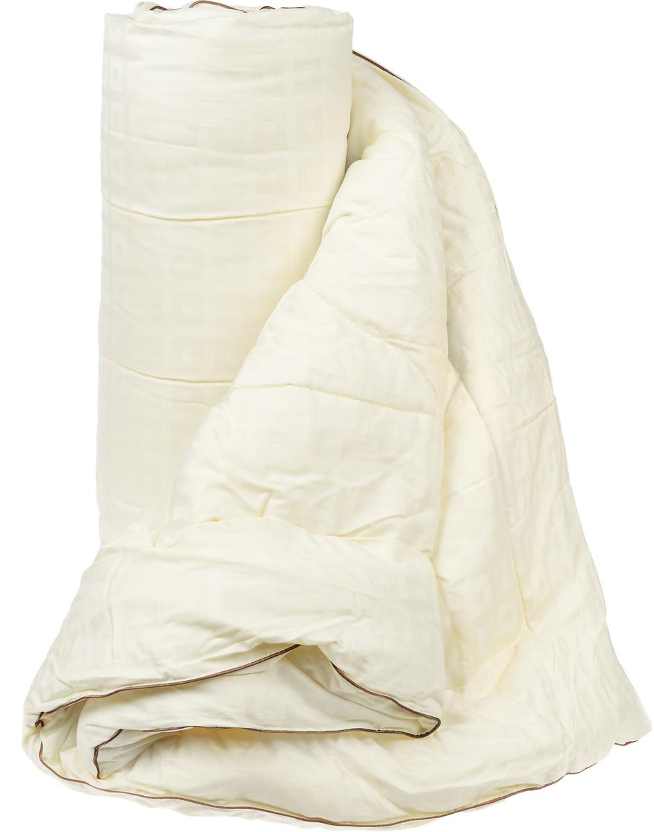 Одеяло легкое Легкие сны Милана, наполнитель: шерсть кашмирской козы, 200 х 220 см200(34)03-КШОЛегкое одеяло Легкие сны Милана с наполнителем из шерсти кашмирской козы расслабит, снимет усталость и подарит вам спокойный и здоровый сон. Пух горной козы не содержит органических жиров, в нем не заводятся пылевые клещи, вызывающие аллергические реакции. Он очень легкий и обладает отличной теплоемкостью. Одеяла из такого наполнителя имеют широкий диапазон климатической комфортности и благоприятно влияют на самочувствие людей, страдающих заболеваниями опорно-двигательной системы. Шерстяные волокна, получаемые из чесаной шерсти горной козы, имеют полую структуру, придающую изделиям высокую износоустойчивость. Чехол одеяла, выполненный из сатина (100% хлопка), отлично пропускает воздух, создавая эффект сухого тепла. Одеяло простегано и окантовано. Стежка надежно удерживает наполнитель внутри и не позволяет ему скатываться. Плотность наполнителя: 200 г/м2.