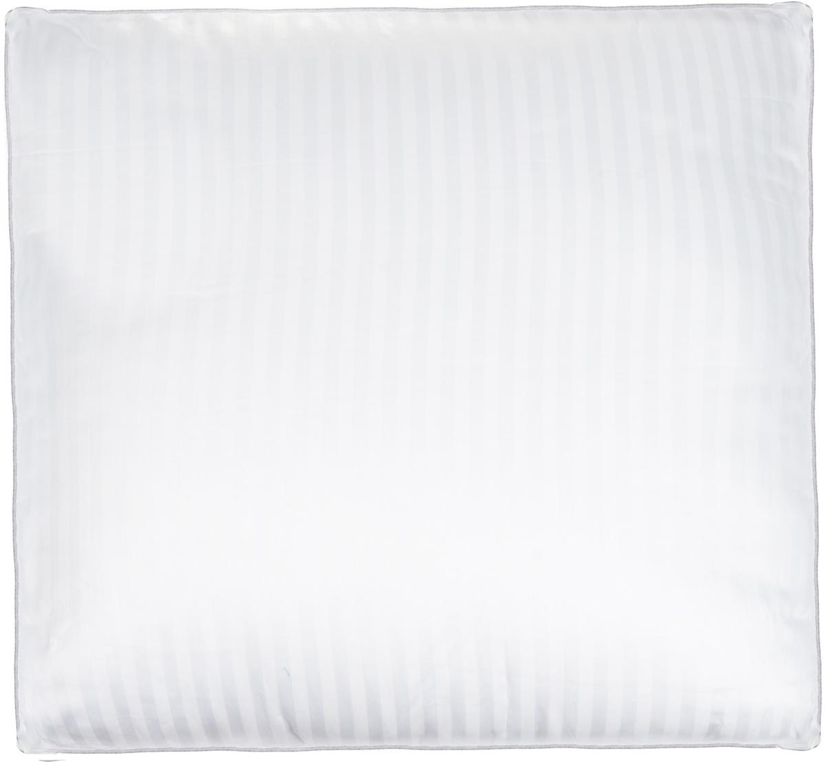 Подушка Легкие сны Элисон, наполнитель: лебяжий пух, 68 х 68 см77(42)03-ЛППодушка Легкие сны Элисон поможет расслабиться, снимет усталость и подарит вам спокойный и здоровый сон. В качестве наполнителя используется синтетический сверхтонкий и практически невесомый материал, названный лебяжьим пухом. Изделия с наполнителем из искусственного пуха легкие, мягкие и не вызывают аллергии. Чехол изделия выполнен из белоснежного сатина (100% хлопок) с тиснением страйп (полосы), по краю подушки выполнена отделка атласным кантом серого цвета. Подушка с таким наполнителем практична, легко стирается и быстро сохнет, сохраняя свои первоначальные свойства. Подушку можно стирать в стиральной машине. Степень поддержки: средняя.