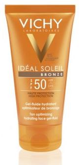 Vichy Увлажняющий флюид-гель активатор загара для лица SPF50 50млM0361301Легкий Флюид создан для защиты кожи от солнца. 24 часа увлажнения! Позволяет быстро получить естественный и стойкий загар. Аминокислота Тирозин С активизирует синтез меланина. Система фильтров Mexoryl® SX обеспечивает усиленную защиту от UVB и UVA лучей, предупреждая пигментацию и появление признаков фотостарения. Подходит для чувствительной кожи.