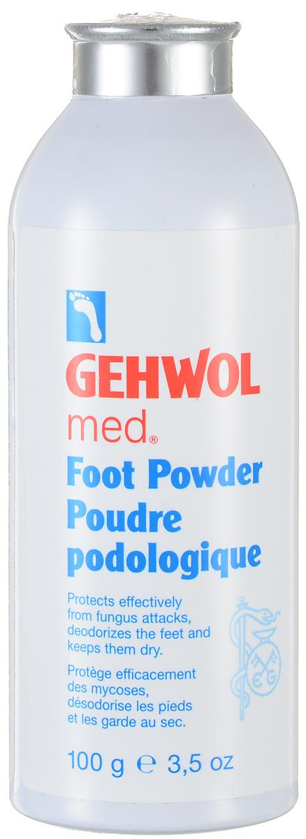 Gehwol Med Foot Powder - Пудра для ног 100 гр1*40906Пудра Геволь-мед (Gehwol med Foot Powder) - cпециальная пудра-адсорбент для решения проблемы влажных ног (в составе оксид цинка), грибка и неприятного запаха. Пудра предупреждает болезни ног, связанные с излишком влаги и процессом разложения пота на поверхности кожи, препятствует раздражению и воспалению кожи ног. Она впитывает влагу с поверхности кожи и помогает сохранять ноги сухими, избавляет от неприятного запаха, дезодорируя кожу. Освежающие компоненты (ментол) создают ощущение легкости и прохлады. Пудра также придает коже ощущение нежности и бархатистости. Особенно рекомендуется как защитное от инфицирования средство в открытой обуви. Активные компоненты: окcид цинка, ментол, тальк, бисаболол, тимол, триклозан. Назначение: Предупреждает болезни ног, связанные с излишком влаги и процессом разложения пота на поверхности кожи. Помогает сохранять ноги сухими. Препятствует раздражению и воспалению кожи ног. Избавляет от неприятного запаха, дезодорируя кожу. Создает ощущение легкости...