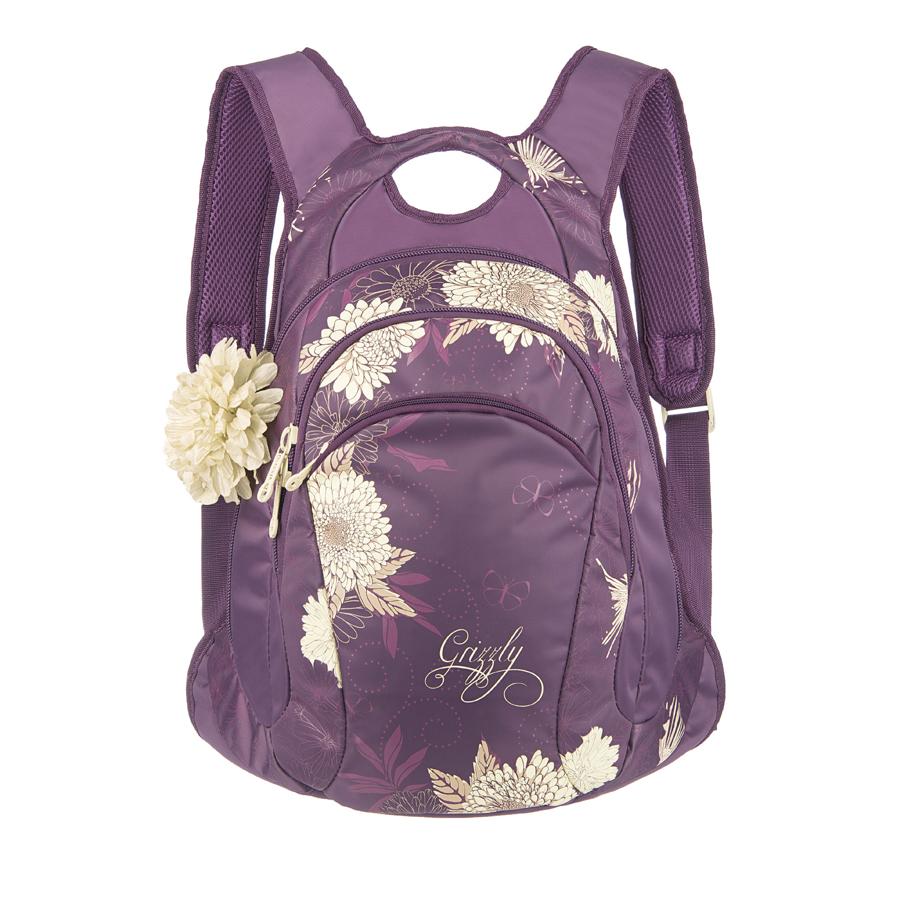 Рюкзак городской Grizzly, цвет: фиолетовый, 16 л. RD-535-1/4RD-535-1/4Рюкзак молодежный, два отделения, карман на молнии на передней стенке, внутренний карман-пенал для карандашей, анатомическая спинка, мягкая укрепленная ручка, укрепленные лямки