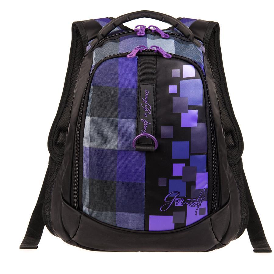 Рюкзак городской Grizzly, цвет: фиолетовый, 16 л. RD-621-1/3RD-621-1/3Рюкзак молодежный, два отделения, боковые карманы из сетки, внутренний карман на молнии, внутренний карман-пенал для карандашей, анатомическая спинка, мягкая укрепленная ручка, укрепленные лямки