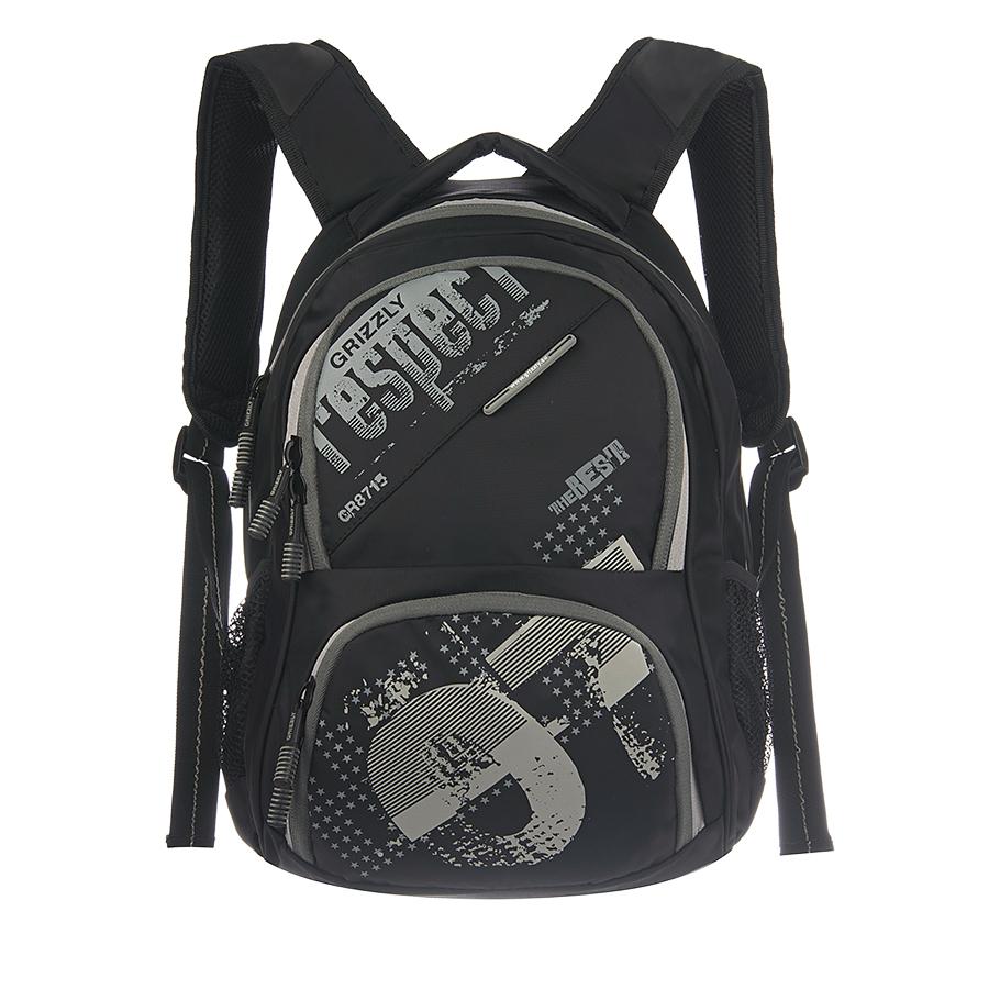 Рюкзак городской Grizzly, цвет: черный, серый, 18 л. RU-512-11/2RU-512-11/2Рюкзак молодежный, два отделения, объемный карман на молнии на передней стенке, боковые карманы из сетки, внутренний подвесной карман на молнии, внутренний составной пенал-органайзер, жесткая анатомическая спинка, мягкая укрепленная ручка, укрепленные лямки