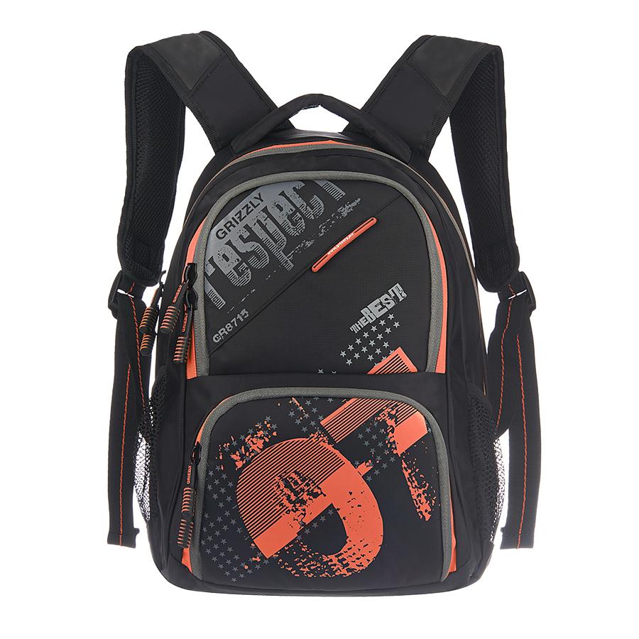 Рюкзак городской Grizzly, цвет: черный, оранжевый, 18 л. RU-512-11/4RU-512-11/4Рюкзак молодежный, два отделения, объемный карман на молнии на передней стенке, боковые карманы из сетки, внутренний подвесной карман на молнии, внутренний составной пенал-органайзер, жесткая анатомическая спинка, мягкая укрепленная ручка, укрепленные лямки