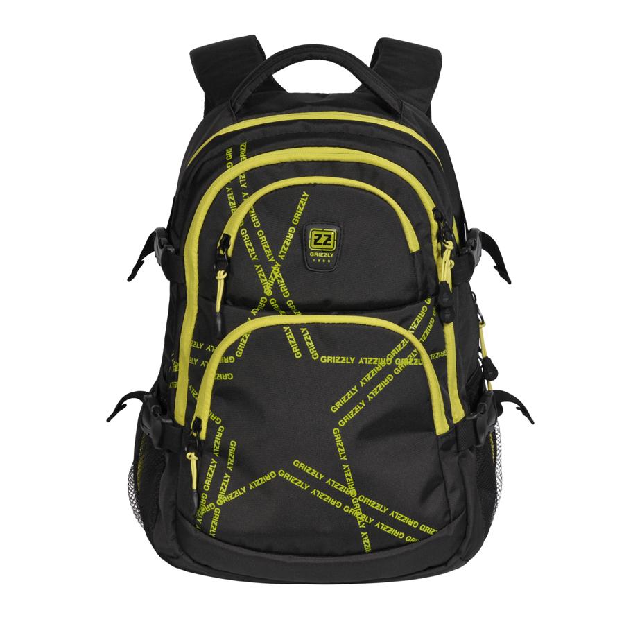Рюкзак городской Grizzly, цвет: черный, салатовый, 22 л. RU-618-2/1RU-618-2/1Рюкзак молодежный, два отделения, два объемных кармана на молнии на передней стенке, боковые карманы из сетки, боковые стяжки-фиксаторы, внутренний карман-пенал для карандашей, внутренний подвесной карман на молнии, укрепленная спинка, нагрудная стяжка-фиксатор, укрепленные лямки