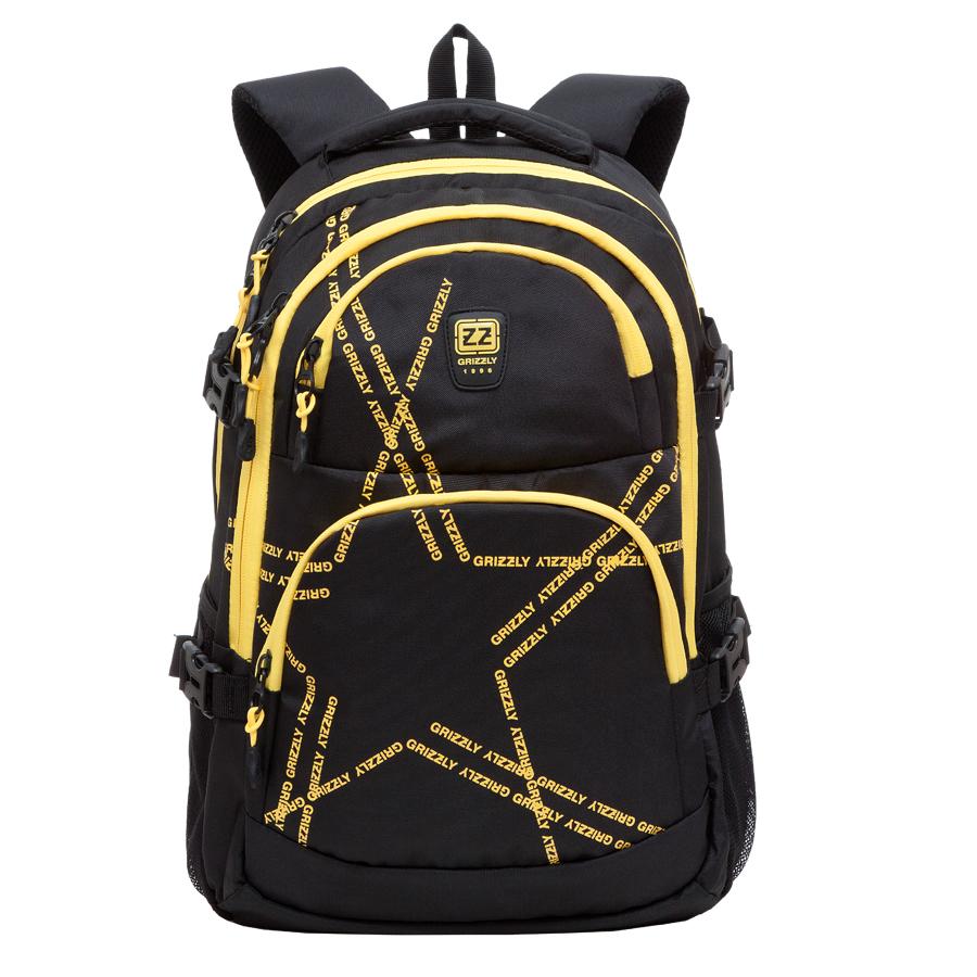 Рюкзак городской Grizzly, цвет: черный, желтый, 22 л. RU-618-2/3RU-618-2/3Рюкзак молодежный, два отделения, два объемных кармана на молнии на передней стенке, боковые карманы из сетки, боковые стяжки-фиксаторы, внутренний карман-пенал для карандашей, внутренний подвесной карман на молнии, укрепленная спинка, нагрудная стяжка-фиксатор, укрепленные лямки