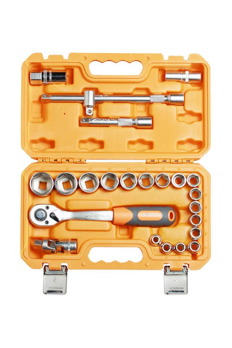 Набор головок и принадлежностей Airline, в пластиковом кейсе, 1/2, 24 предметаAT-24-02Каждый инструмент в линейке профессиональных слесарных инструментов выполнен из высококачественной, легированной хром ванадиевой инструментальной стали на современном автоматизированном производстве. Проходит несколько стадий контроля. Это гарантирует стабильность высокого качества и характеристик инструмента. Долговечные, эргономичные, крепко слаженные инструменты AIRLINE PROFESSIONAL TOOLS подойдут любому – от требовательного мастера до высококлассного специалиста. Состав набора: Головка торцевая 6 г: 8, 10, 11, 12, 13, 14, 15, 16, 17, 18, 19, 21, 22, 24, 27, 30, 32 Головка свечная: 16, 21 Трещоточная рукоятка: 1/2 дюйма, 72 зуба Удлинитель: 125 мм, 250 мм Карданный шарнир: 1/2 дюйма Адаптер для Т-образного воротка: 1/2 дюйма