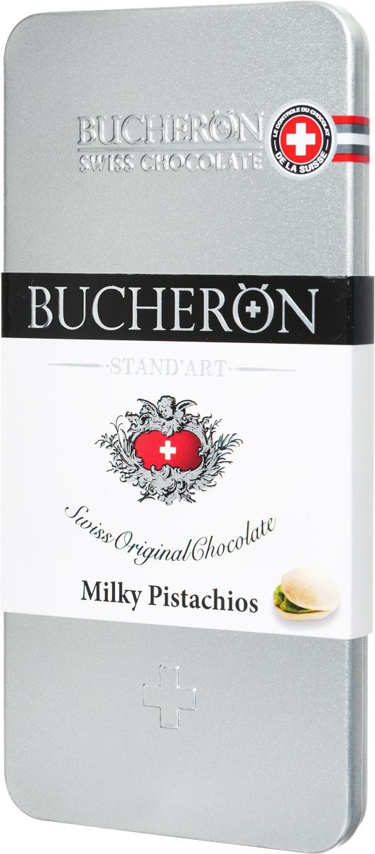 Bucheron Молочный шоколад с фисташками, 100 г14 6775Шоколад премиум класса Bucheron, упакованный в серебряную жестяную упаковку, - это настоящий швейцарский молочный шоколад с фисташками. Молочный шоколад Бушерон был приготовлен из какао-бобов Criollo из Кот- дИвуар, скрывающих в себе оттенки топленого молока, бананов, нежнейшего бисквита и овсяного печенья. Ярославская кондитерская фабрика выпускает этот шоколад под полным контролем швейцарского концерна Барри Каллебаут. Барри Каллебаут - ведущий в мире производитель высококачественного шоколада и какао- продуктов. Компания осуществляет полный цикл операций от закупки и обработки какао-бобов до производства готовых шоколадных продуктов высшего класса.