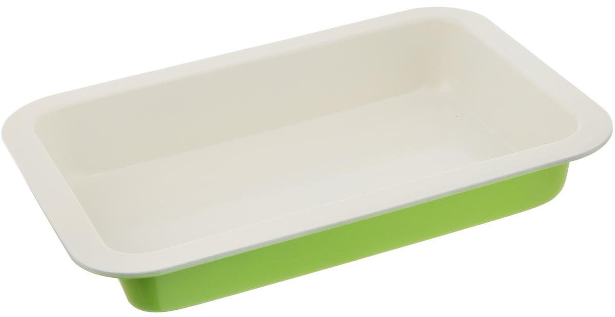 Противень Mayer & Boch, с керамическим покрытием, прямоугольный, цвет: зеленый, молочный, 34 х 24 х 5,3 см22249_зеленый, молочныйПротивень Mayer & Boch выполнен из высококачественной углеродистой стали и снабжен антипригарным керамическим покрытием, что обеспечивает ему прочность и долговечность. Противень равномерно и быстро прогревается, что способствует лучшему пропеканию пищи. Его легко чистить. Готовая выпечка без труда извлекается. Простой в уходе и долговечный в использовании противень Mayer & Boch станет верным помощником в создании ваших кулинарных шедевров. Внешний размер: 34 х 24 х 5,3 см. Внутренний размер: 30 х 20 х 5,1 см. Высота стенки: 5,3 см.