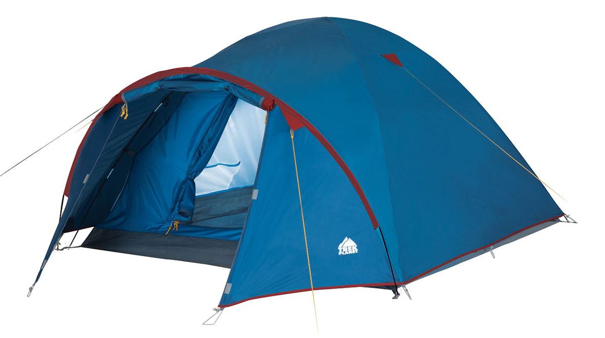 Палатка четырехместное Trek Planet Vermont 4, цвет: синий70111Двухслойная четырехместная палатка куполообразной формы с вместительным тамбуром Trek Planet Vermont 4 - отлично подойдет для похода или путешествия. ОСОБЕННОСТИ МОДЕЛИ: - Палатка легко и быстро устанавливается, - Тент палатки из полиэстера, с пропиткой PU водостойкостью 2000 мм, надежно защитит от дождя и ветра, все швы проклеены, - Каркас выполнен из прочного стеклопластика, - Дно изготовлено из прочного армированного полиэтилена, - Внутренняя палатка, выполненная из дышащего полиэстера, обеспечивает вентиляцию помещения и позволяет конденсату испаряться, не проникая внутрь палатки, - Удобная D-образная дверь на входе во внутреннюю палатку, - Москитная сетка на входе в спальное отделение в полный размер двери, - Вентиляционный клапан, - Внутренние карманы для мелочей, - Возможность подвески фонаря в палатке. - Палатка упакована в сумку-чехол с ручками, застегивающуюся на застежку-молнию Артикул: 70111
