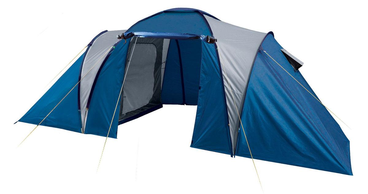 Палатка четырехместная Trek Planet Toledo Twin 4, цвет: синий, серый70116Четырехместная двухслойная семейная кемпинговая палатка Trek Planet Toledo Twin 4 с двумя отдельными спальными отделениями, отличной вентиляцией и большим тамбуром между спальными отделениями - отличный выбор для семейного кемпинга и отдыха на природе. ОСОБЕННОСТИ МОДЕЛИ: - Тент палатки из полиэстера с пропиткой PU надежно защищает от дождя и ветра. - Все швы проклеены. - Большое и высокое внутреннее помещение между спальными отделениями палатки, где свободно размещается кемпинговый стол и стулья на 4 человек. - Эффективная потолочная система вентиляции в тамбуре, - Дно из прочного водонепроницаемого армированного полиэтилена позволяет устанавливать палатку на жесткой траве, песчаной поверхности, глине и т.д. - Дуги из прочного стекловолокна; - Внутренние палатки из дышащего полиэстера, обеспечивают вентиляцию помещения и позволяют конденсату испаряться, не проникая внутрь палатки; - Вентиляционные окна в спальных отделениях, - Удобная...