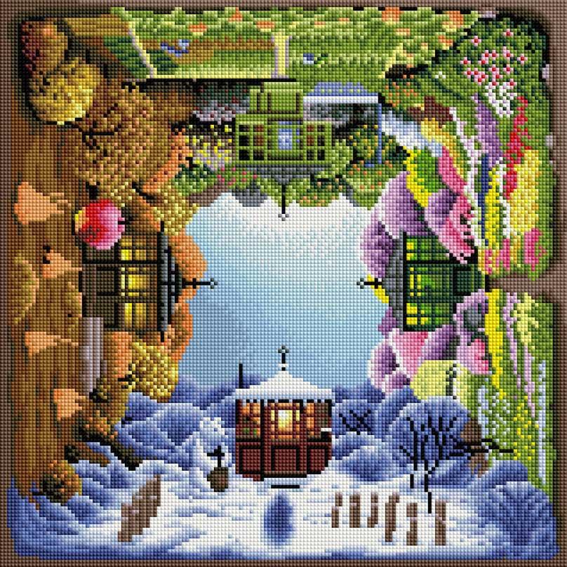 Мозаика на подрамнике Времена года, 40 х 40 см142-ST-SОснова мозаичной картины - холст на подрамнике усиленный листом оргалита. Тип камней: квадратные 2,5 см х 2,5 мм. Размер готовой работы: 40 см х 40 см. 40 цветов.