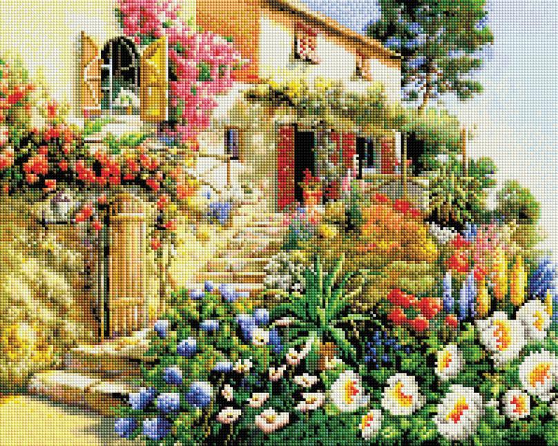 Мозаика на подрамнике Итальянский дворик, 40 х 50 см187-ST-SОснова мозаичной картины - холст на подрамнике усиленный листом оргалита. Тип камней: квадратные 2,5 см х 2,5 мм. Размер готовой работы: 40 см х 50 см. 64 цвета.