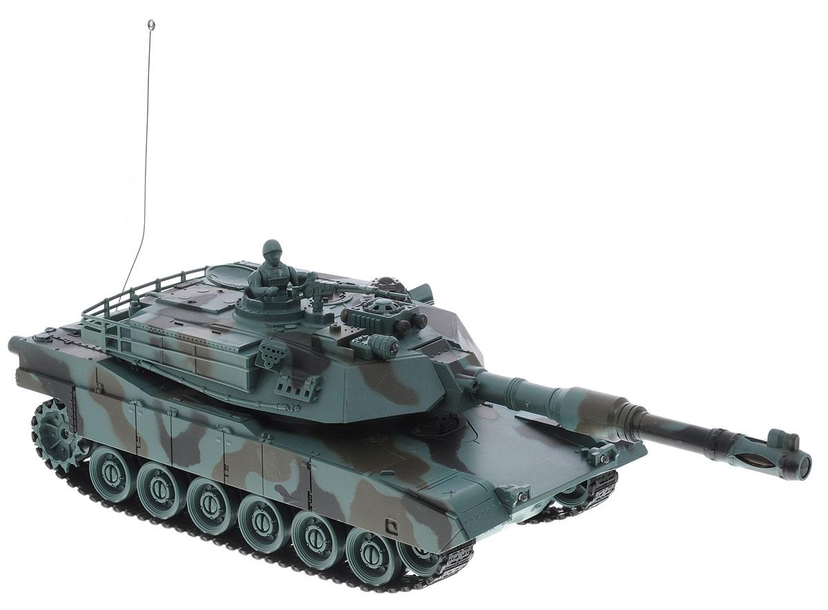 Balbi Танк на радиоуправлении М1А2 цвет серо-зеленыйFMTB-2801-FТанк на радиоуправлении Balbi М1А2 понравится не только малышам, но и взрослым любителям военной техники. Игрушка, выполненная из безопасного и прочного пластика с элементами из металла, воспроизводит легендарную модель американского танка М1А2 в масштабе 1:28. Танк может двигаться вправо, влево, вперед и назад, а также вращаться на месте и преодолевать подъемы под углом 45 градусов. Башня танка может вращаться направо и налево, а регулируемая пушка опускается и поднимается. На башне танка имеется световой индикатор жизней - вы можете устроить настоящее танковое сражение, при помощи инфракрасного наведения целясь в башню вражеского танка. После попадания на боевой машине гаснет один индикатор жизни. Бой заканчивается, когда на одном из танков гаснут все индикаторы жизни. Танк оснащен звуковыми эффектами: во время сражения раздаются реалистичные звуки выстрелов, звук движущейся машины и шум поворота пушки. Реалистичные световые и звуковые эффекты при стрельбе позволяют еще...
