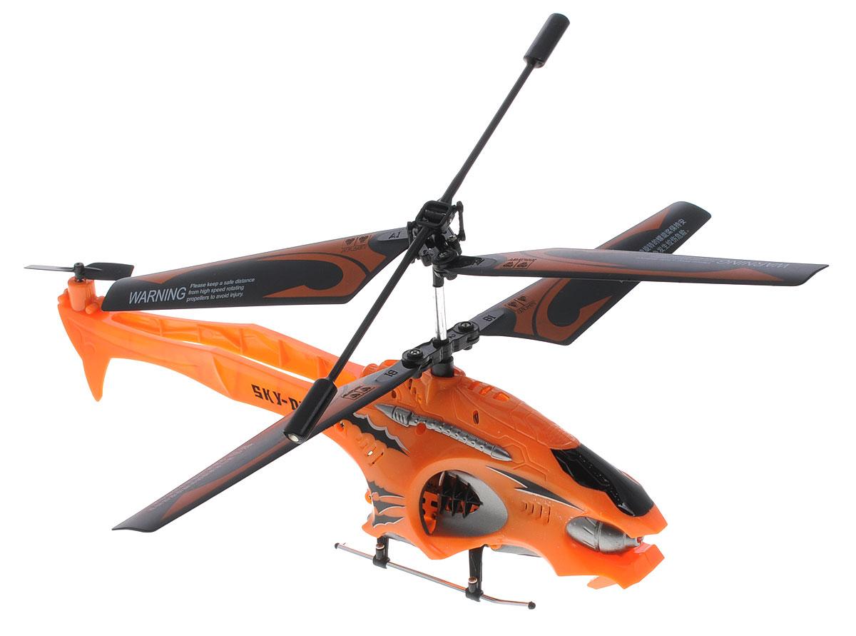 Auldey Вертолет на инфракрасном управлении Sky-Dash цвет оранжевый1169959Вертолет на инфракрасном управлении Auldey Sky-Dash c трехканальным управлением и встроенным гироскопом отлично подходит для полетов в закрытых помещениях и на улице в безветренную погоду. Гироскоп предназначен для курсовой стабилизации полета. Игрушка выполнена из прочных полимерных материалов и имеет два основных винта и один хвостовой. Вертолет стабилен в воздухе и легко управляется. Движения вертолета: вверх-вниз, поворот налево, поворот направо, вперед-назад, стоп. Эта увлекательная игрушка понравится не только детям, но и взрослым, и подарит вам множество счастливых мгновений. Вертолет работает от встроенного аккумулятора, который можно заряжать от USB-шнура (входит в комплект). Для работы пульта управления необходимо купить 6 батареек напряжением типа АА (в комплект не входят).
