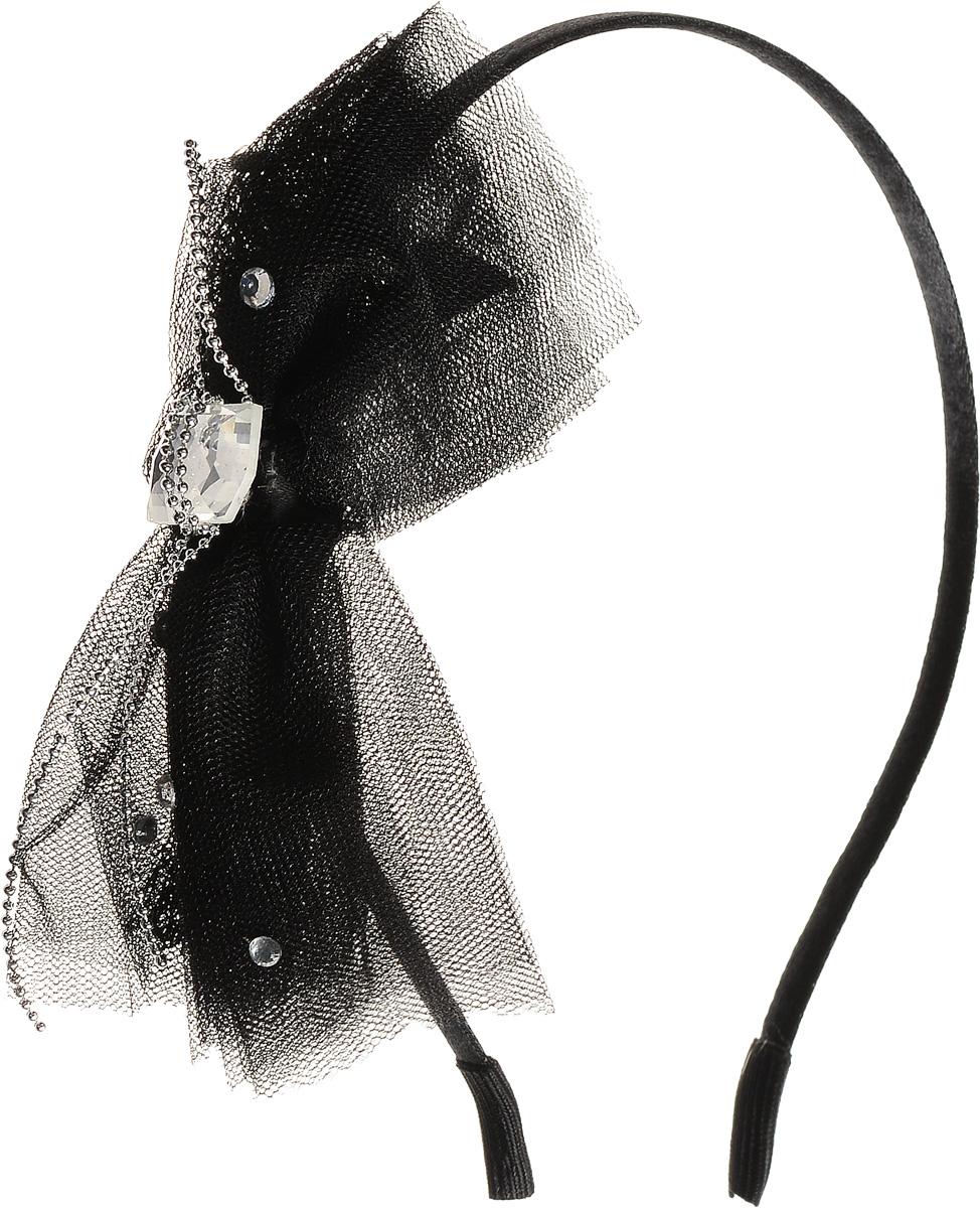 Ободок для волос Selena, цвет: черный. 7004515670045156Ободок для волос Selena, выполненный из металла, обтянут текстильным материалом. Изделие оформлено оригинальным большим бантом, который дополнен стразами и кристаллами Swarovski. Ободок позволяет не только убрать непослушные волосы со лба, но и придать вашему образу романтичности и очарования. Правильно подобранный к цветовой гамме одежды, ободок сделает вас стильной и женственной и подчеркнет красивые черты вашего лица.