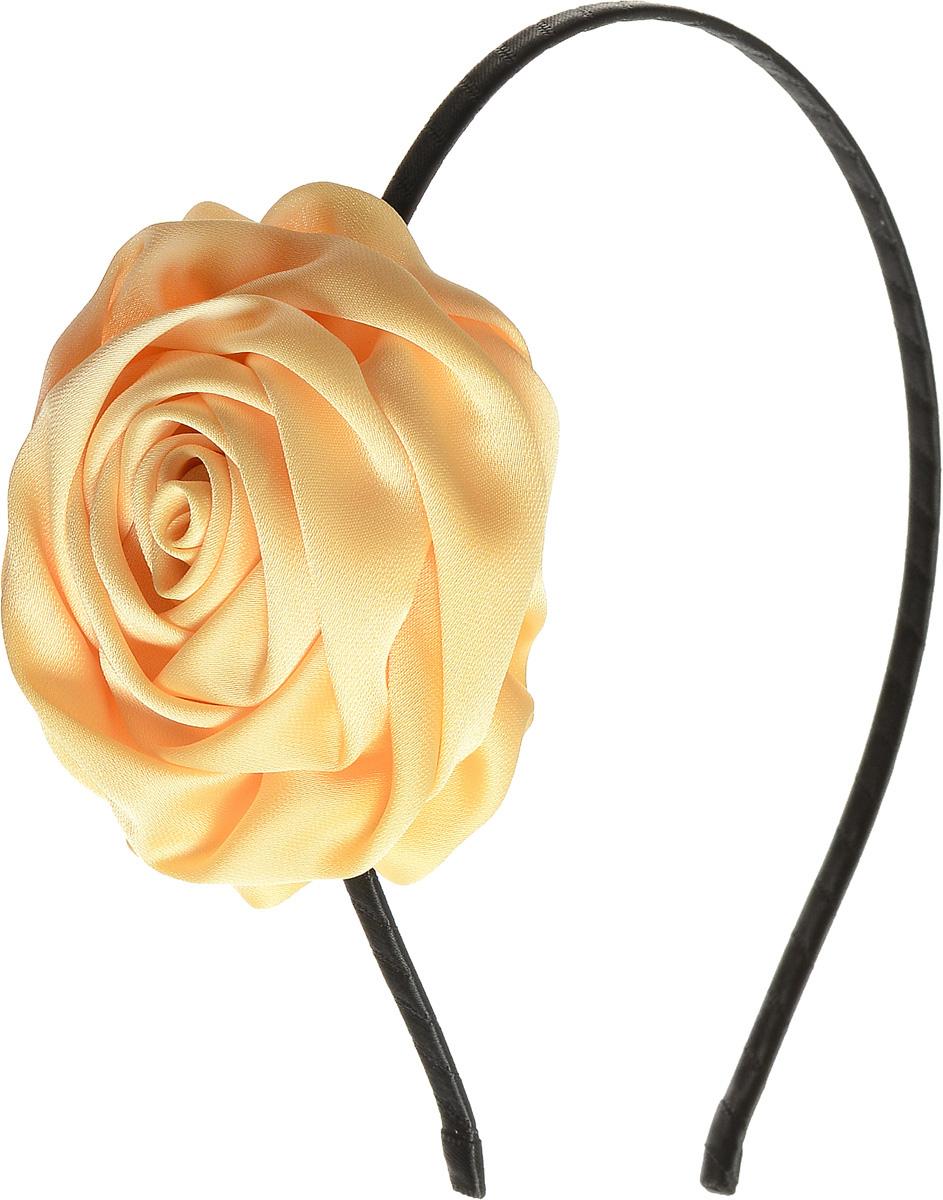 Ободок для волос Selena, цвет: черный, желтый. 7005888670058886Ободок для волос Selena, выполненный из металла, обтянут лентой и оформлен текстильной розочкой. Ободок позволяет не только убрать непослушные волосы со лба, но и придать вашему образу романтичности и очарования. Правильно подобранный к цветовой гамме одежды, ободок сделает вас стильной и женственной и подчеркнет красивые черты вашего лица.