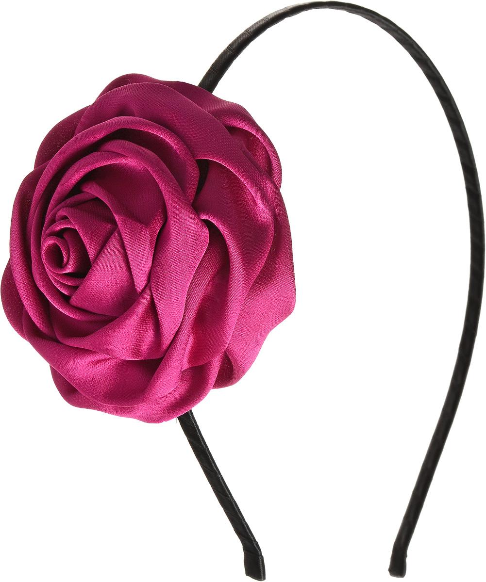 Ободок для волос Selena, цвет: черный, фуксия. 7005893670058936Ободок для волос Selena, выполненный из металла, обтянут лентой и оформлен текстильной розочкой. Ободок позволяет не только убрать непослушные волосы со лба, но и придать вашему образу романтичности и очарования. Правильно подобранный к цветовой гамме одежды, ободок сделает вас стильной и женственной и подчеркнет красивые черты вашего лица.