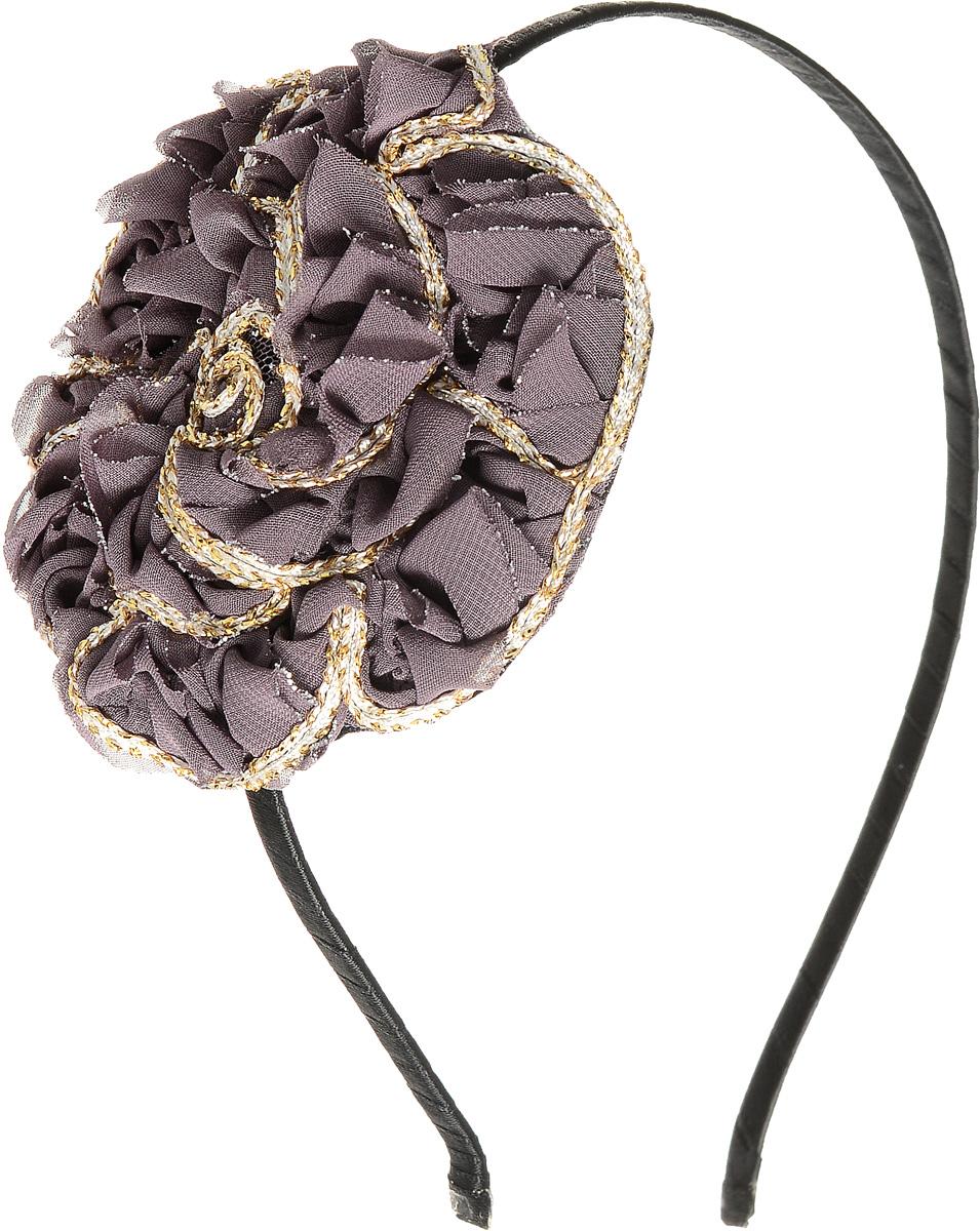 Ободок для волос Selena, цвет: черный, серо-коричневый. 7005901670059016Ободок для волос Selena, выполненный из металла, обтянут лентой и оформлен оригинальным крупным цветком из текстиля. Ободок позволяет не только убрать непослушные волосы со лба, но и придать вашему образу романтичности и очарования. Правильно подобранный к цветовой гамме одежды, ободок сделает вас стильной и женственной и подчеркнет красивые черты вашего лица.