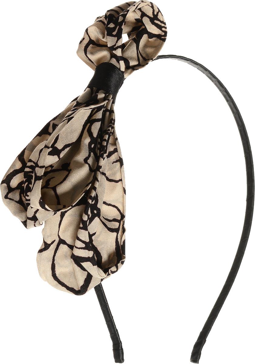 Ободок для волос Selena, цвет: черный, бежевый. 7006531670065316Ободок для волос Selena, выполненный из металла, обтянут текстильной лентой и оформлен оригинальным большим бантом. Ободок позволяет не только убрать непослушные волосы со лба, но и придать вашему образу романтичности и очарования. Правильно подобранный к цветовой гамме одежды, ободок сделает вас стильной и женственной и подчеркнет красивые черты вашего лица.