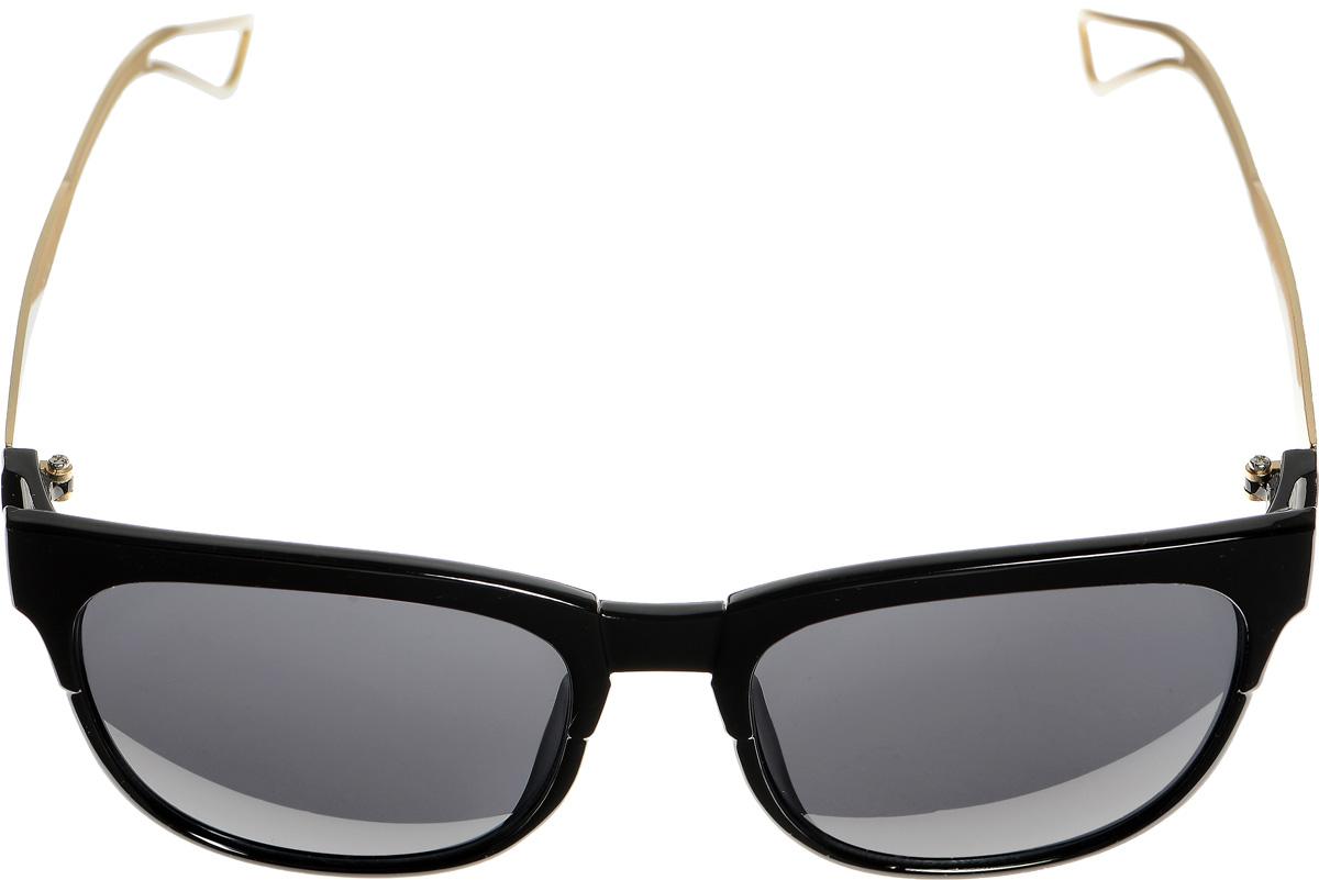 Очки солнцезащитные женские Selena, цвет: черный, золотистый. 8003336180033361Солнцезащитные женские очки Selena выполнены из металла с элементами из высококачественного пластика. Дужки по краям дополнены небольшими вырезами. Линзы данных очков с высокоэффективным фильтром UV-400 Protection обеспечивают полную защиту от ультрафиолетовых лучей. Используемый пластик не искажает изображение, не подвержен нагреванию и вредному воздействию солнечных лучей. Такие очки защитят глаза от ультрафиолетовых лучей, подчеркнут вашу индивидуальность и сделают ваш образ завершенным.
