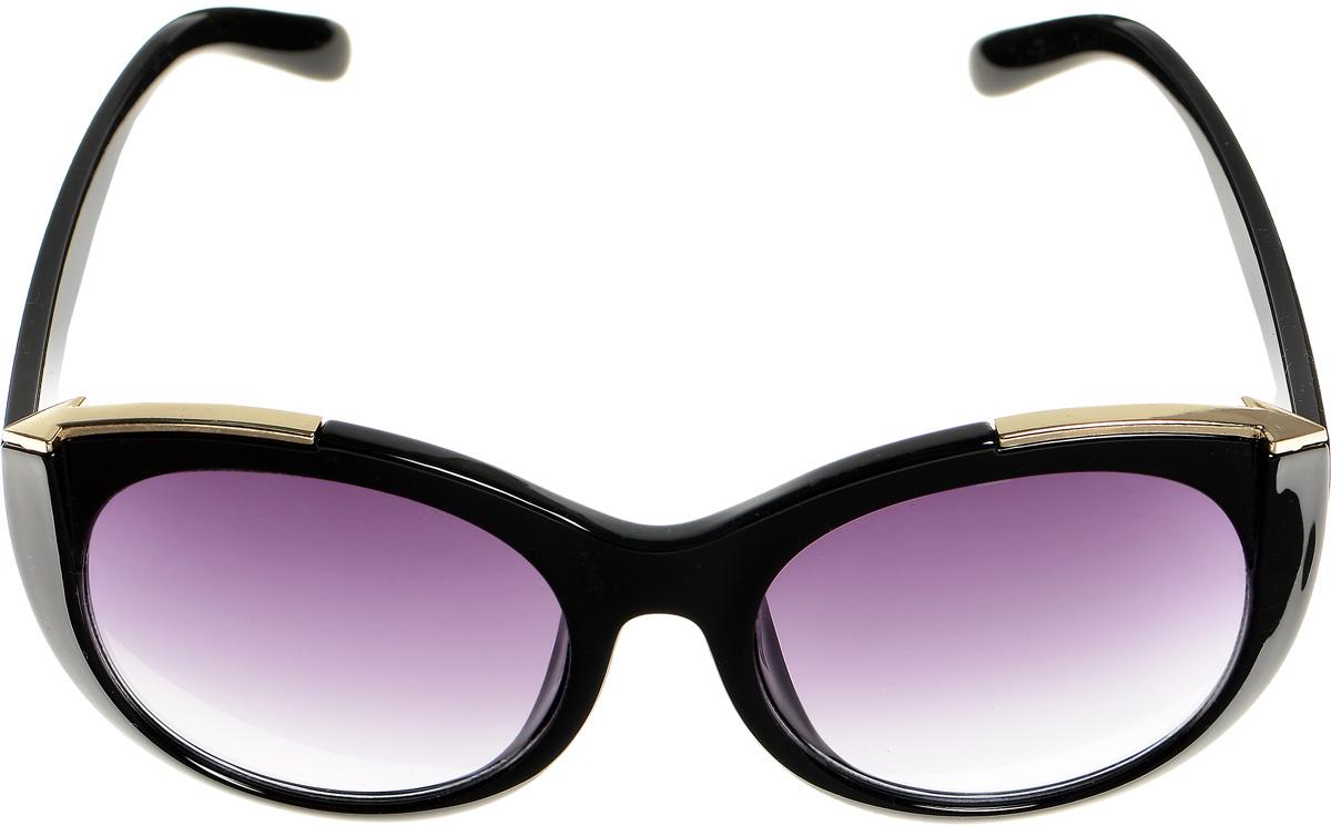 Очки солнцезащитные женские Selena, цвет: черный, золотистый. 8003339180033391Солнцезащитные женские очки Selena выполнены из высококачественного пластика и оформлены металлическими вставками. Линзы данных очков с высокоэффективным фильтром UV-400 Protection обеспечивают полную защиту от ультрафиолетовых лучей. Используемый пластик не искажает изображение, не подвержен нагреванию и вредному воздействию солнечных лучей. Такие очки защитят глаза от ультрафиолетовых лучей, подчеркнут вашу индивидуальность и сделают ваш образ завершенным.