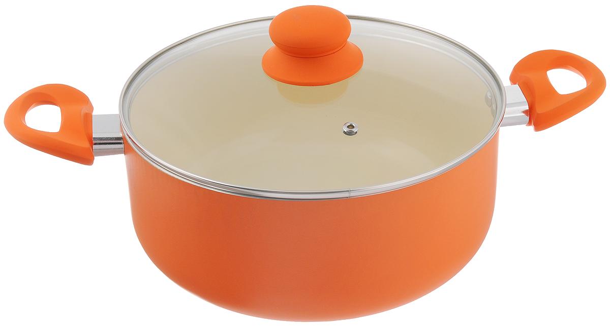 Кастрюля Mayer & Boch с крышкой, с керамическим покрытием, цвет: оранжевый, молочный, 4,8 л. 2196121961_оранжевый, молочныйКастрюля Mayer & Boch изготовлена из высококачественного алюминия с керамическим покрытием. Керамика не содержит вредных примесей ПФОК, поэтому является экологически чистой, безопасной для здоровья. Кроме того, с таким покрытием пища не пригорает и не прилипает к стенкам, поэтому можно готовить с минимальным добавлением масла и жиров. Гладкая поверхность легко чистится - ее можно мыть в воде руками или вытирать полотенцем. Кастрюля эффективно сохраняет тепло и быстро разогревает продукты. Энергосберегающая технология позволяет готовить быстрее, с меньшими затратами энергии. Кастрюля оснащена бакелитовыми ручками с покрытием soft-touch, что делает процесс эксплуатации более удобным и комфортным. Крышка из термостойкого стекла снабжена металлическим ободом, удобной бакелитовой ручкой и отверстием для выпуска пара. Такая крышка позволит следить за процессом приготовления пищи без потери тепла. Она плотно прилегает к краям сковороды,...