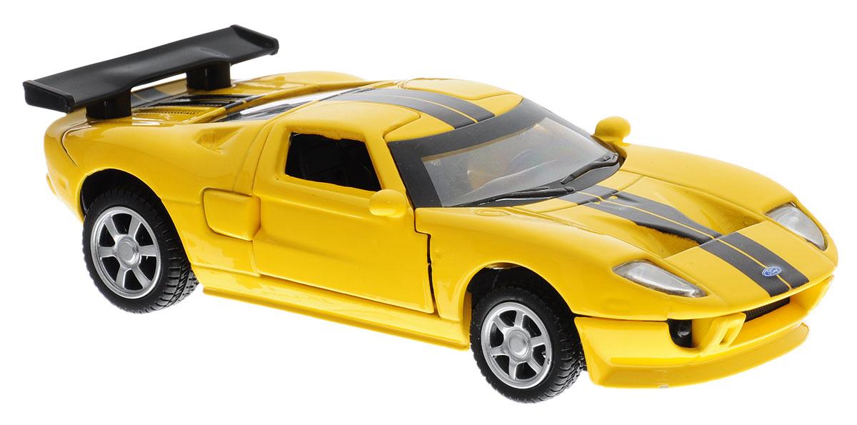 ТехноПарк Модель автомобиля Ford GT цвет желтый67311_желтыйМодель автомобиля ТехноПарк Ford GT - это копия оригинальной машины в масштабе 1:43. Модель выполнена из высококачественных материалов. Игрушка оснащена металлическим корпусом и подвижными прорезиненными колесами. Передние двери машинки открываются, салон детализирован. Игрушка оснащена инерционным ходом. Для того чтобы автомобиль поехал вперед, необходимо его отвести назад, а затем резко отпустить. Машинка является отличным подарком для юного гонщика. Во время игры с такой машинкой у ребенка развиваются мелкая моторика рук, фантазия и воображение.