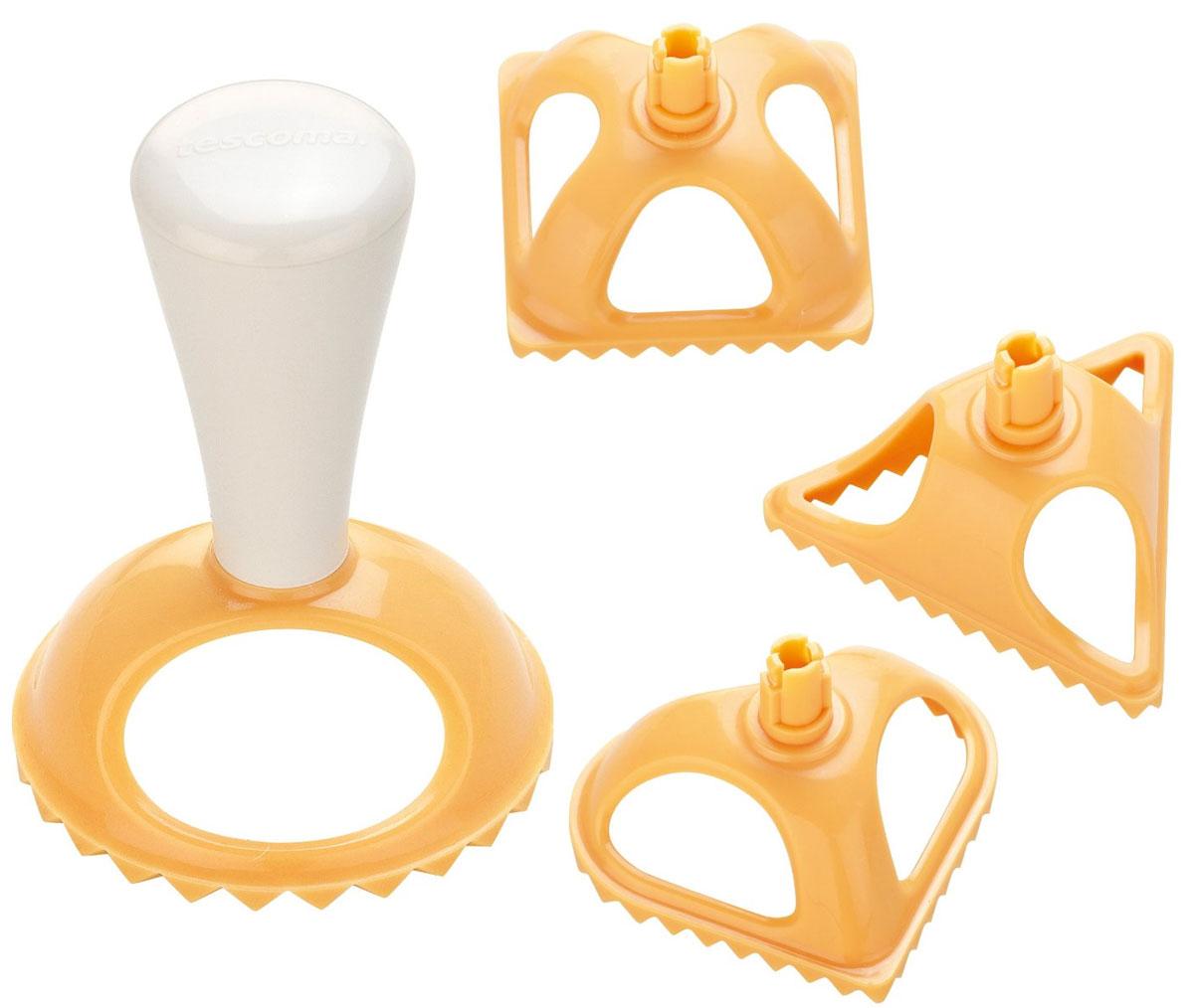 Формы для равиоли Tescoma Delicia, 5 предметов630049Формы Tescoma Delicia, изготовленные из высококачественного пластика, служат для приготовления итальянских пельменей (равиоли) в форме круга, квадрата, треугольника и сердца. Универсальная ручка для всех форм очень удобна в использовании. Можно мыть в посудомоечной машине.