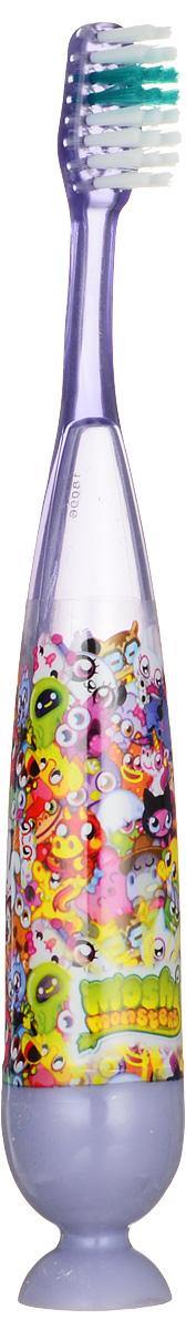 Moshi Monsters Зубная щетка на присоске с таймером-подсветкой цвет сиреневыйMM-5_сиреневыйДетская зубная щетка с таймером-подсветкой Moshi Monsters идеальна для детского ротика. Щетка имеет эргономичную ручку с присоской, небольшую чистящую головку, встроенный таймер со световыми эффектами, включающийся нажатием на основание ручки. Длительность мигания подсветки: 1 минута. Ручка украшена изображением героев мультсериала Moshi Monsters. Рекомендуемый возраст: от 2 до 6 лет.