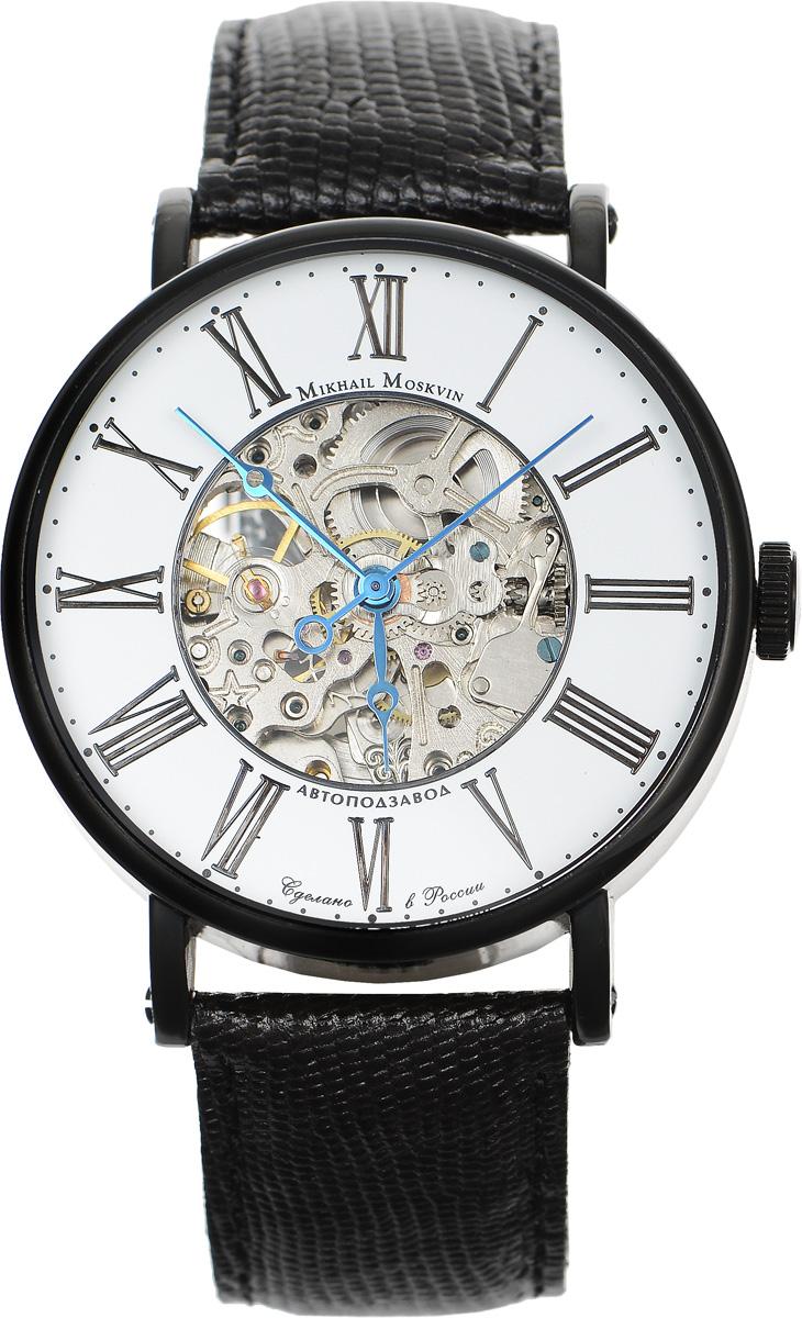 Часы наручные мужские Mikhail Moskvin, цвет: черный. 1176B11L31176B11L3Элегантные мужские часы Mikhail Moskvin изготовлены из нержавеющей стали. Циферблат оформлен символикой бренда. Корпус часов имеет степень влагозащиты, равную 3 Bar, оснащен механическим механизмом, а также устойчивым к царапинам минеральным стеклом с сапфировым напылением. Задняя крышка дополнена стеклянной вставкой, благодаря чему видно элементы механизма. Ремешок, выполненный из натуральной кожи с декоративным тиснением под кожу рептилии, застегивается на пряжку. Часы поставляются в фирменной упаковке. Часы Mikhail Moskvin подчеркнут отменное чувство стиля их обладателя.
