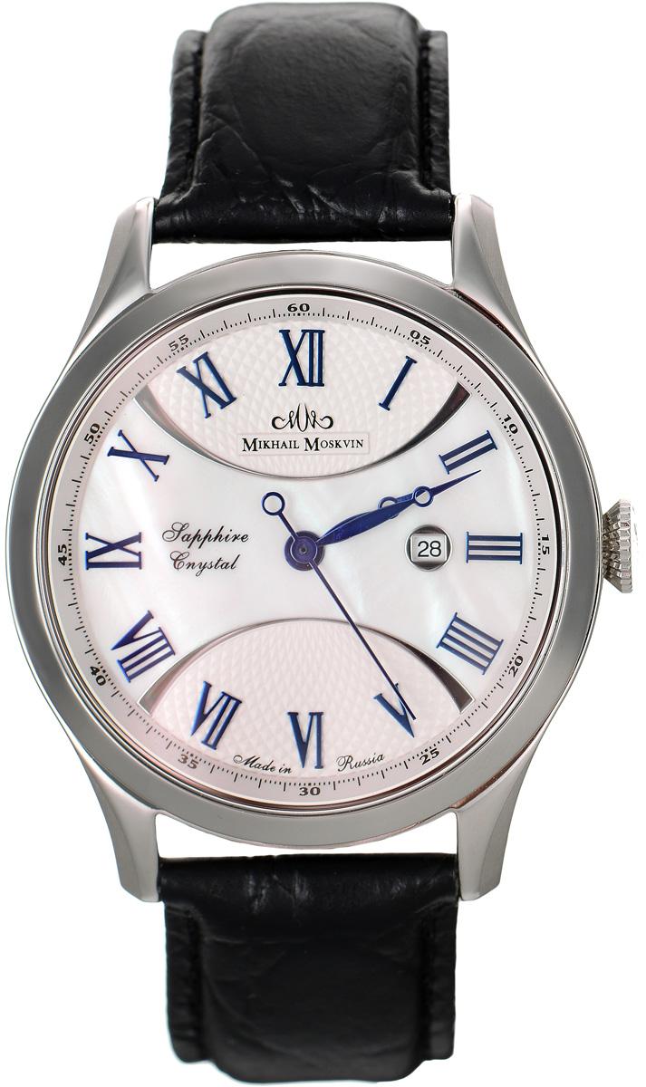 Часы наручные мужские Mikhail Moskvin, цвет: серебряный, черный. 1065S0L11065S0L1Элегантные мужские часы Mikhail Moskvin изготовлены из нержавеющей стали и минерального стекла. Циферблат изделия оформлен перламутровой вставкой и символикой бренда. Корпус часов имеет степень влагозащиты, равную 3 Bar, оснащен кварцевым механизмом, а также устойчивым к царапинам минеральным стеклом. Циферблат оснащен индикатором даты. Ремешок, выполненный из натуральной кожи с декоративным тиснением, застегивается на застежку-бабочку. Часы поставляются в фирменной упаковке. Часы Mikhail Moskvin подчеркнут чувство стиля их обладателя.