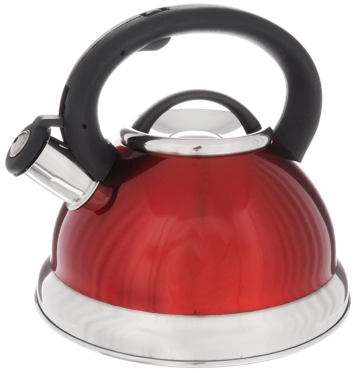 Чайник Mayer & Boch, со свистком, цвет: красный, 2,8 л22674_красныйЧайник Mayer & Boch изготовлен из высококачественной нержавеющей стали. Гладкая и ровная поверхность существенно облегчает уход. Чайник оснащен удобной пластиковой ручкой, которая не нагревается даже при продолжительном периоде нагрева воды. Носик чайника имеет насадку-свисток, что позволит вам контролировать процесс подогрева или кипячения воды. Выполненный из качественных материалов чайник Mayer & Boch при кипячении сохраняет все полезные свойства воды. Чайник пригоден для использования на всех типах плит, кроме индукционных. Можно мыть в посудомоечной машине. Диаметр чайника по верхнему краю: 10 см. Высота чайника (без учета ручки и крышки): 12,5 см.