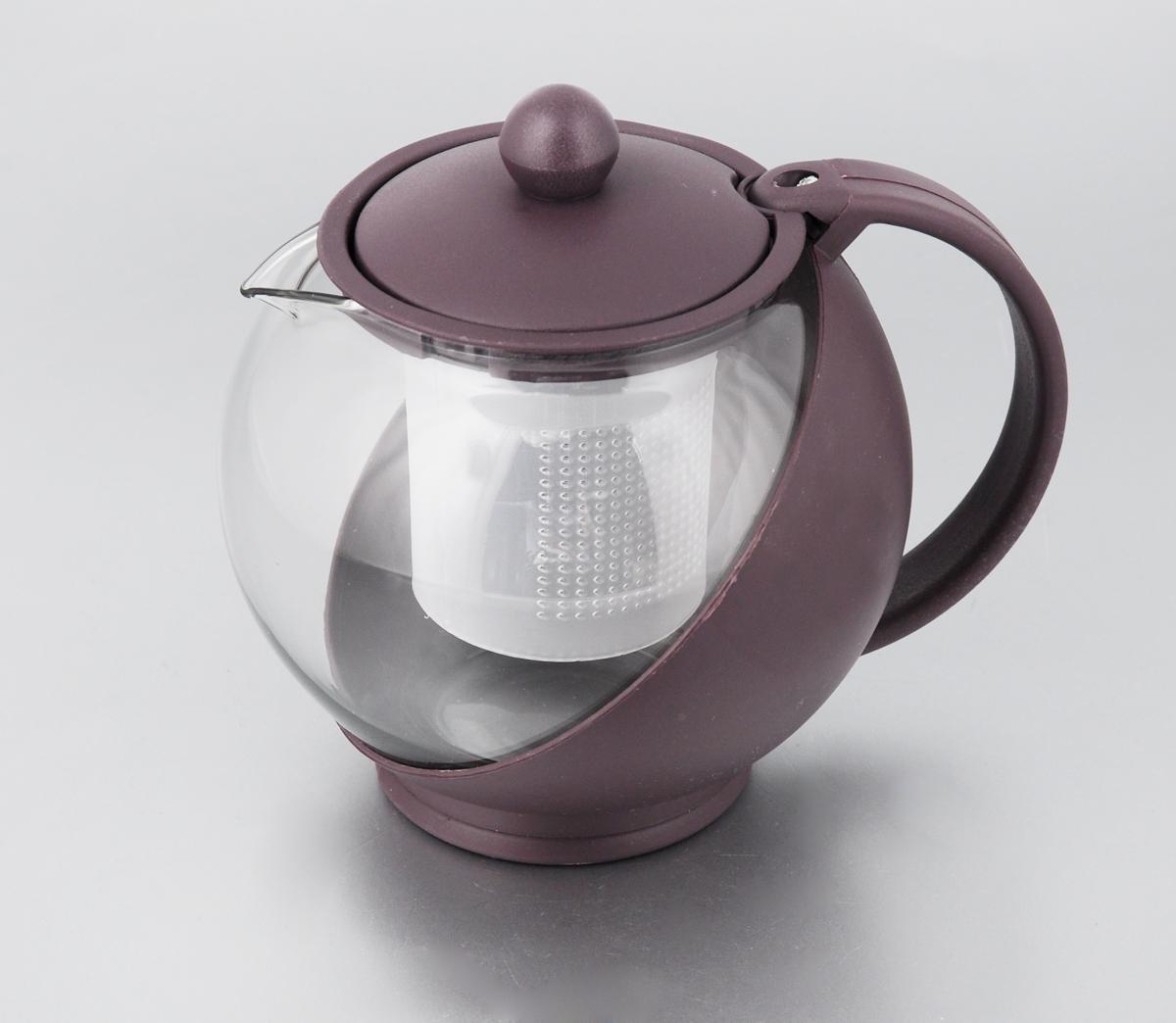 Чайник заварочный Miolla, с фильтром, цвет: фиолетовый, прозрачный, 750 мл. DHA021P/ADHA021P/A_фиолетовыйЗаварочный чайник Miolla изготовлен из жаропрочного стекла и термостойкого пластика. Чай в таком чайнике дольше остается горячим, а полезные и ароматические вещества полностью сохраняются в напитке. Чайник оснащен фильтром и крышкой. Простой и удобный чайник поможет вам приготовить крепкий, ароматный чай. Нельзя мыть в посудомоечной машине. Не использовать в микроволновой печи. Диаметр чайника (по верхнему краю): 7 см. Высота чайника (без учета крышки): 11,5 см. Высота фильтра: 7,5 см.
