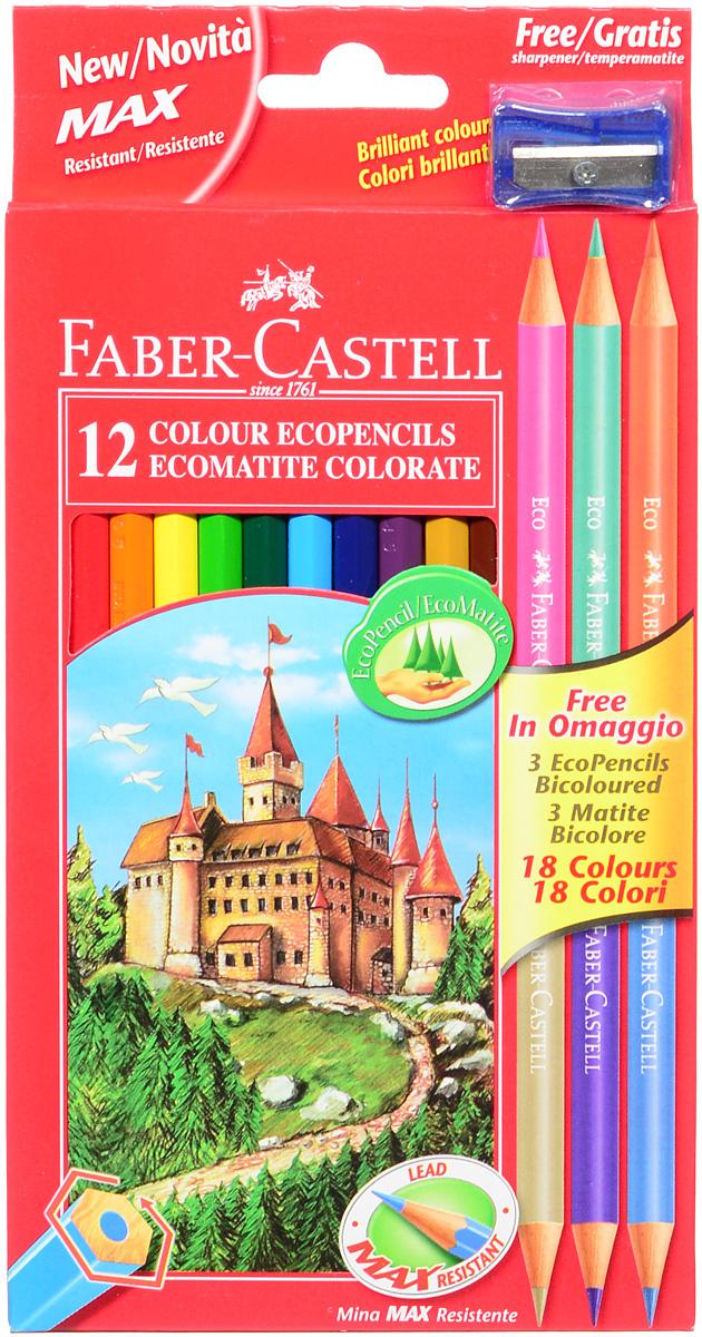 Faber-Castell Набор цветных карандашей Eco 15 цветов с точилкой цвет точилки синий111215_синяя точилкаВ наборе Faber-Castell 12 цветных шестигранных карандашей, не требующих сильного нажатия. Карандаши обладают яркими цветами, безопасны при использовании по назначению, легко затачиваются, изготовлены из высококачественной древесины, имеют прочный грифель. Набор дополнен тремя круглыми карандашами, каждый из которых имеет по два цвета. Набор карандашей откроет юным художникам новые горизонты для творчества, поможет отлично развить мелкую моторику рук, цветовое восприятие, фантазию и воображение. Корпус изготовлен из натуральной древесины, гладкость которой обеспечена многослойной покраской. Карандаши удобно держать в руках, а мягкий грифель не требует сильного нажима и легко стирается ластиком. Вместе с карандашами в наборе имеется точилка синего цвета из прочного пластика с рифленой областью захвата. Острое стальное лезвие обеспечивает высококачественную и точную заточку деревянных карандашей. В комплект входит 15 цветных карандашей, точилка.