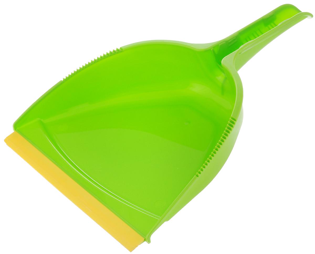 Совок Вот!, с резиновым краем, цвет: зеленый, желтыйSP020-ZWСовок Вот!, выполненный из пластика, предназначен для сбора мусора и пыли при уборке помещений. Он оснащен эргономичной ручкой с отверстием для подвешивания. Благодаря резиновому краю совка, в него легко сметать грязь и мусор. Размер рабочей части: 23,5 х 18,5 см. Высота совка: 6 см. Длина ручки: 13 см.