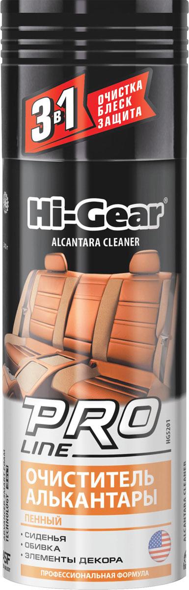 Очиститель алькантары (пенный) профессиональная формула Hi-Gear. HG 5201HG 5201Высокотехнологичный пенный состав для очистки, обновления и восстановления обивки из алькантары. Придает обивке ухоженный внешний вид. Позволяет проводить глубокую очистку, легко справляясь с различными видами загрязнений, в том числе с застарелыми. При этом поверхность покрывается слоем особого высокотехнологичного синтетического полимера, который создает надежный долговременный защитный барьер от загрязнений и ультрафиолетового излучения.СИДЕНЬЯОБИВКАЭЛЕМЕНТЫ ДЕКОРАПрименение: используйте при положительной температуре. Не применяйте на нагретых поверхностях. Перед началом обработки проверьте очиститель на совместимость с красителем алькантары на незаметном участке обивки. Равномерно нанесите пену на очищаемую поверхность, через 1-2 минуты протрите ее тканью из хлопка или микрофибры до удаления загрязнений. Состав также может использоваться для очистки кожаных и тканых обивок. Не подходит для очистки замши.