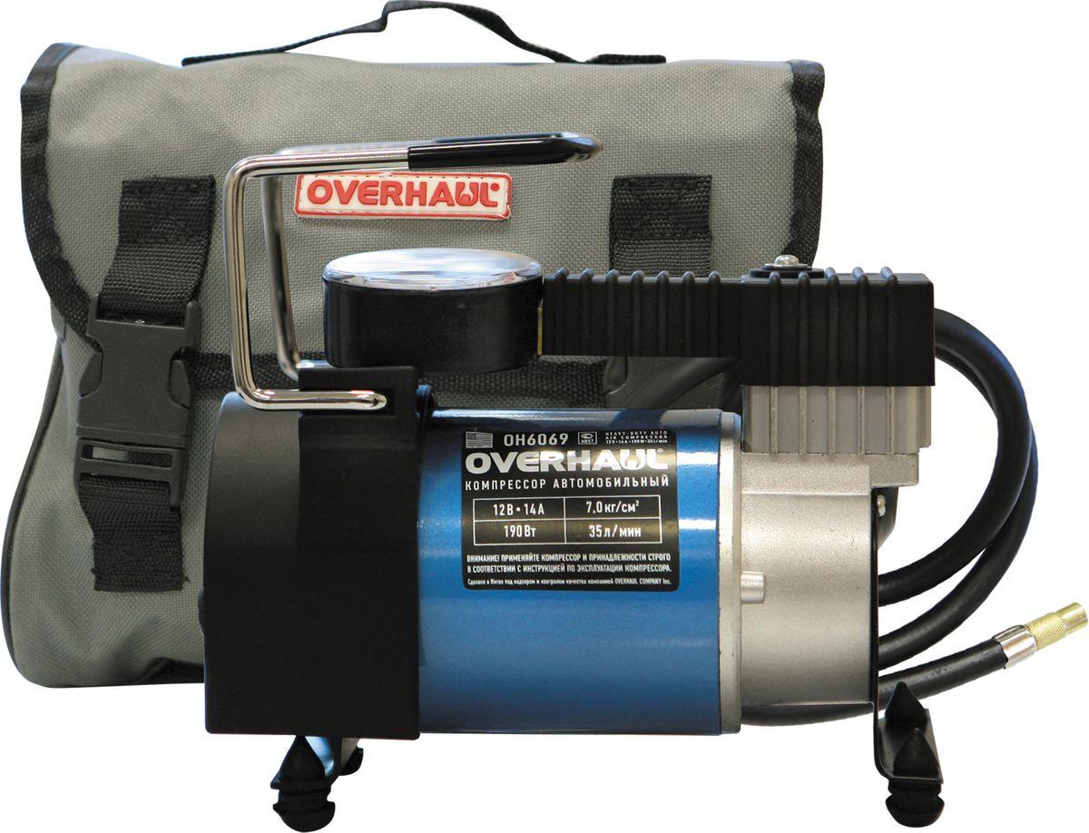 Компрессор автомобильный Overhaul, 12 В, 190 Вт, 7,0 кгc/см2 . OH 6069OH 6069Компрессоры повышенной мощности позволят накачать колесо любого размера и надувной спортинвентарь за максимально короткое время. Цельнометаллический корпус обеспечивает эффективный отвод тепла, что значительно увеличивает продолжительность непрерывной работы. Компрессоры оборудованы маховиком с противовесом, обеспечивающим снижение вибрации и шума при работе, электромотором с усиленными подшипниками. Напряжение/Сила тока - 12V/14A. Мощность - 190Вт. Макс.давление - 7 кг/см.кв. Производительность - 35 л/мин.