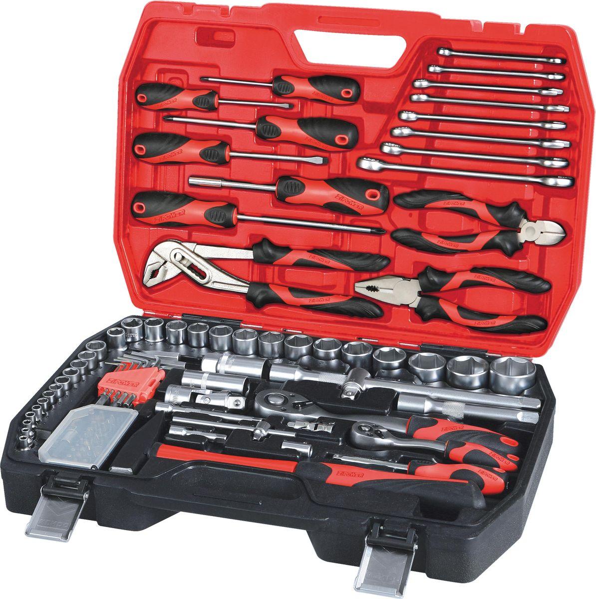 Набор инструментов Zipower, 101 предмет. PM 4111PM 4111Идеально подходит для работы с основными видами крепежа. Магнитный битодержатель и наличие удлинителей в комплекте позволяют упростить работу с труднодоступными крепежами. В комплекте: шестигранные торцевые головки с битами, свечные головки, гаечные и накидные ключи, отверточная рукоятка для бит, бокорезы, комбинированные плоскогубцы, клещи переставные. Тщательно подобранный ассортимент инструмента удовлетворит запросы и начинающего автовладельца, и профессионального механика. Применение специальной технологии закалки и термической обработки хромованадиевой стали гарантирует высокую прочность инструмента, его износоустойчивость при интенсивном использовании. Двухкомпонентные рукоятки обеспечивают комфорт во время выполнения работ. Количество предметов: 101 шт. Материал инструмента: Cr-V