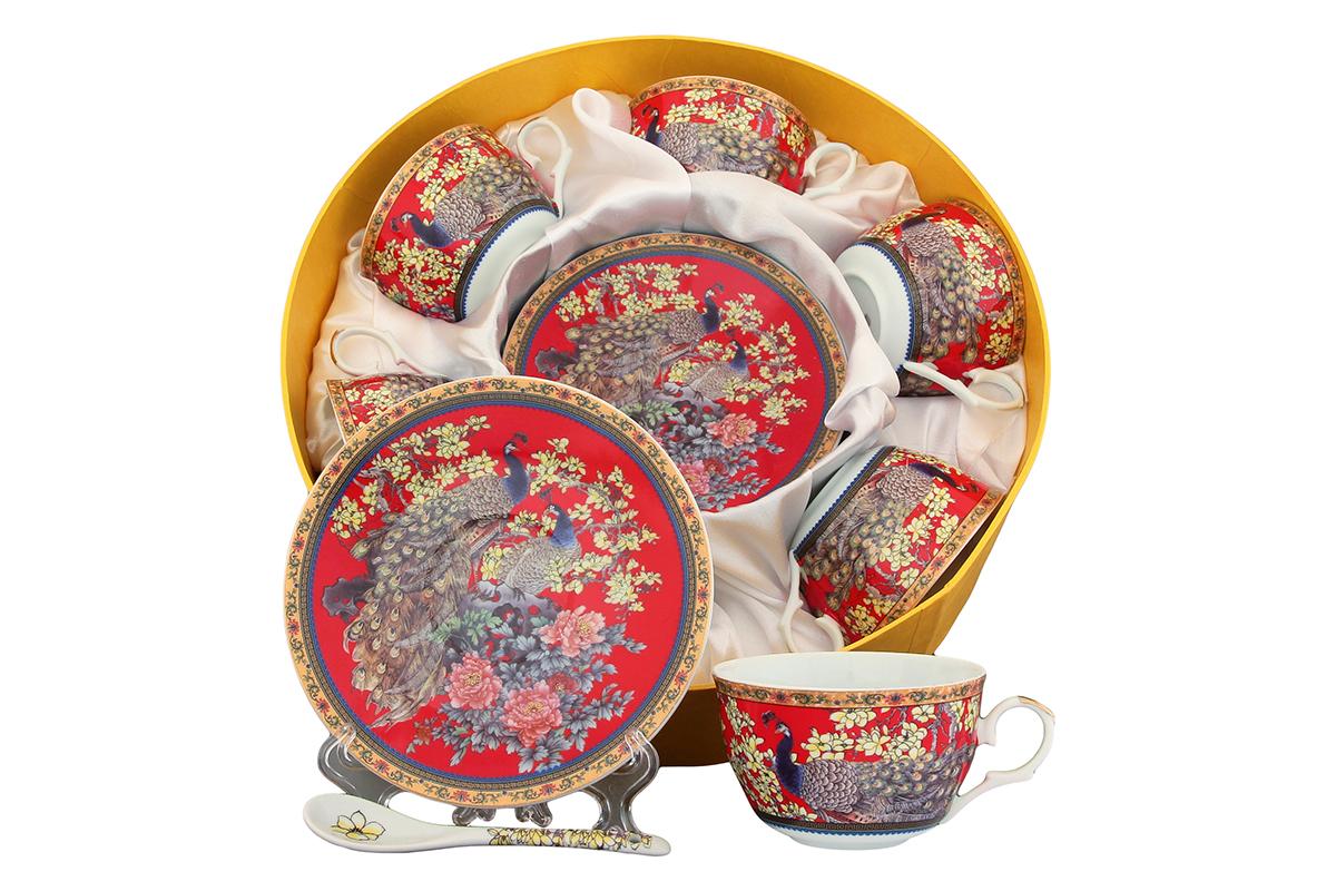 Чайный набор Elan Gallery Павлин, 12 предметов с ложками. 180811180811Чайный набор - это отличный подарок, подходящий для любого повода. Принесет в ваш дом красоту и уют душевных чаепитий! Размеры: 110x60x95 мм, 150x150x20 мм.