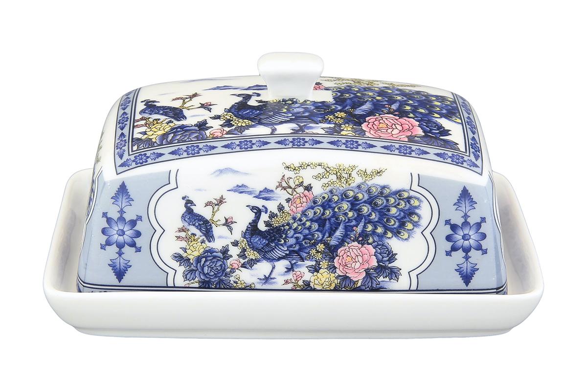 Масленка Elan Gallery Павлин. 180820180820Великолепная масленка , выполненная из высококачественной керамики, предназначена для красивой сервировки и хранения масла.