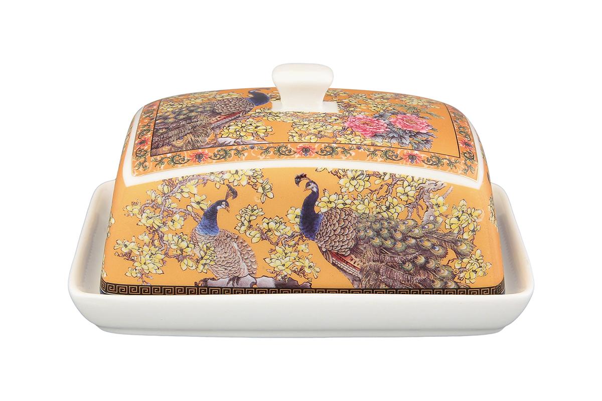 Масленка Elan Gallery Павлин. 180824180824Великолепная масленка , выполненная из высококачественной керамики, предназначена для красивой сервировки и хранения масла.