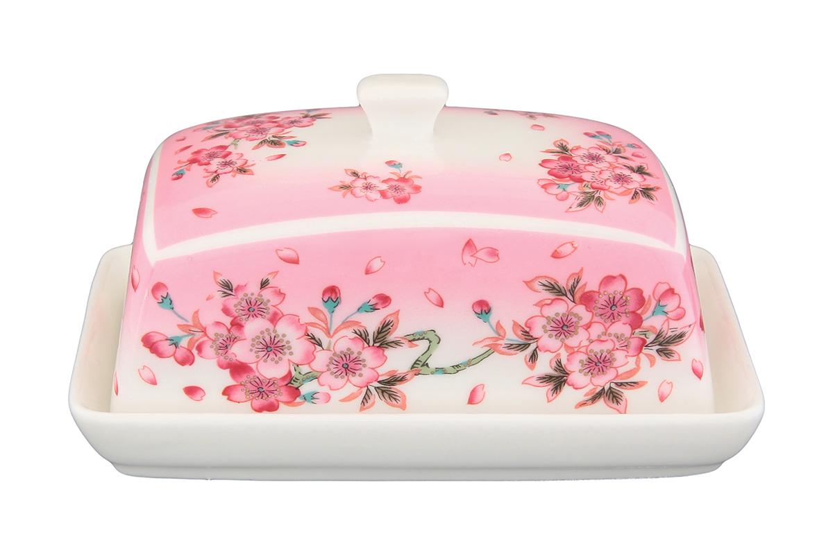 Масленка Elan Gallery Сакура180827Великолепная масленка , выполненная из высококачественной керамики, предназначена для красивой сервировки и хранения масла.