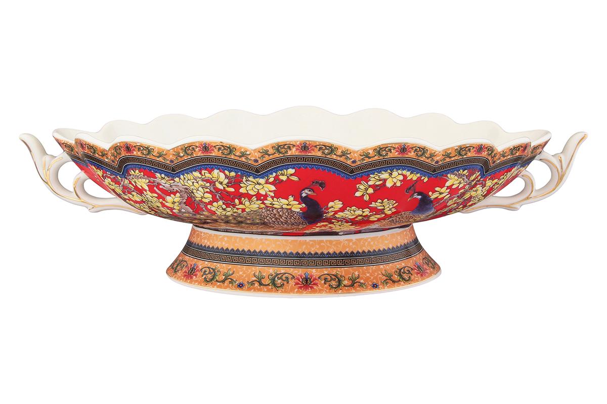 Конфетница-ладья Elan Gallery Павлин. 180834180834Изящная конфетница-ладья, изготовленная из высококачественной керамики, подходит для конфет, снеков и варенья. Кофетница оригинально украсит ваш стол и станет прекрасным дизайнерским решением.