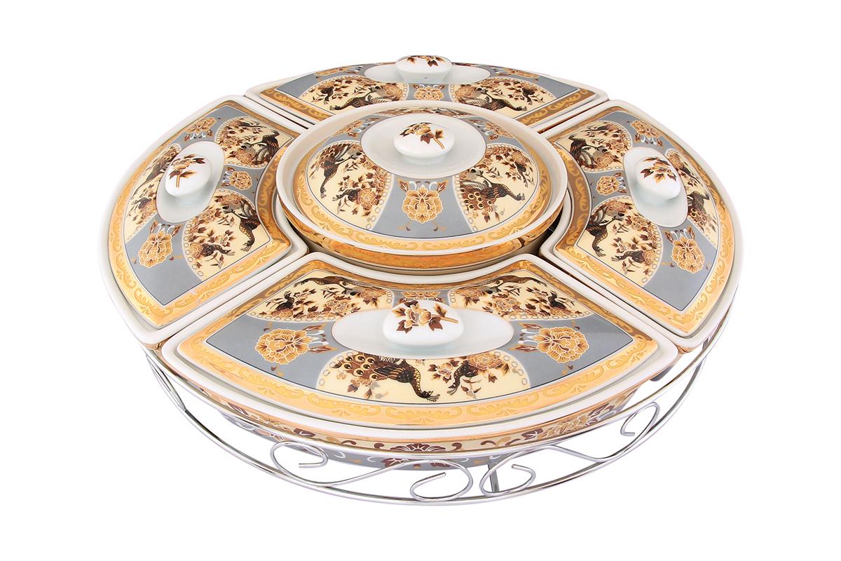 Менажница Elan Gallery Павлин, с крышками, на подставке, 5 секций471280Менажница Elan Gallery Павлин, выполненная из высококачественной керамики, состоит из 5 съемных секций с крышками, оформленных оригинальным рисунком. Она предназначена для подачи сразу нескольких видов закусок, нарезок или соусов. Изделие размещено на крутящейся металлической подставке. Менажница Elan Gallery Павлин станет настоящим украшением праздничного стола и подчеркнет ваш изысканный вкус. Не рекомендуется применять абразивные моющие средства. Не использовать в микроволновой печи.